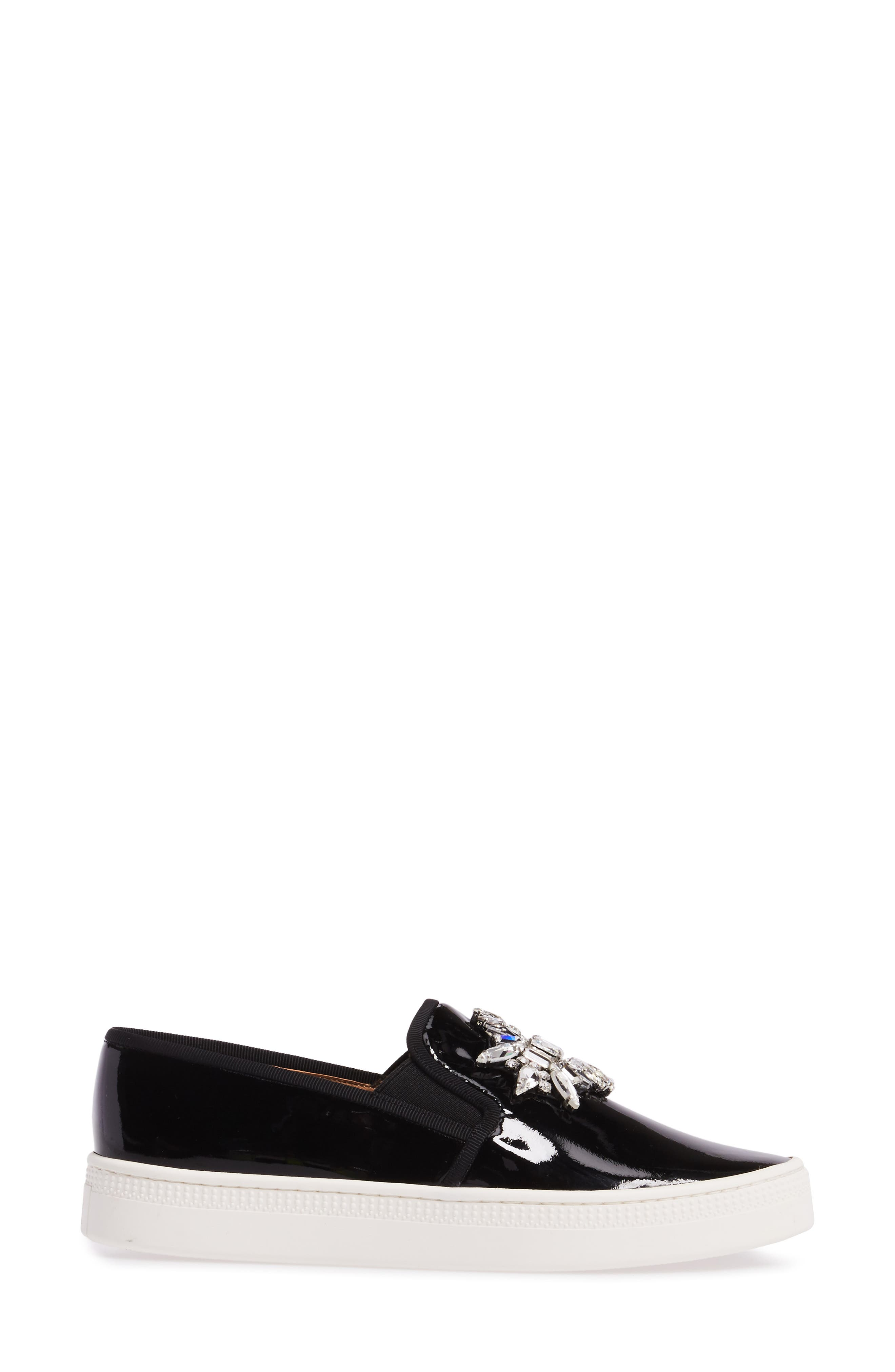 Badgley Mischka Barre Crystal Embellished Slip-On Sneaker,                             Alternate thumbnail 3, color,                             011