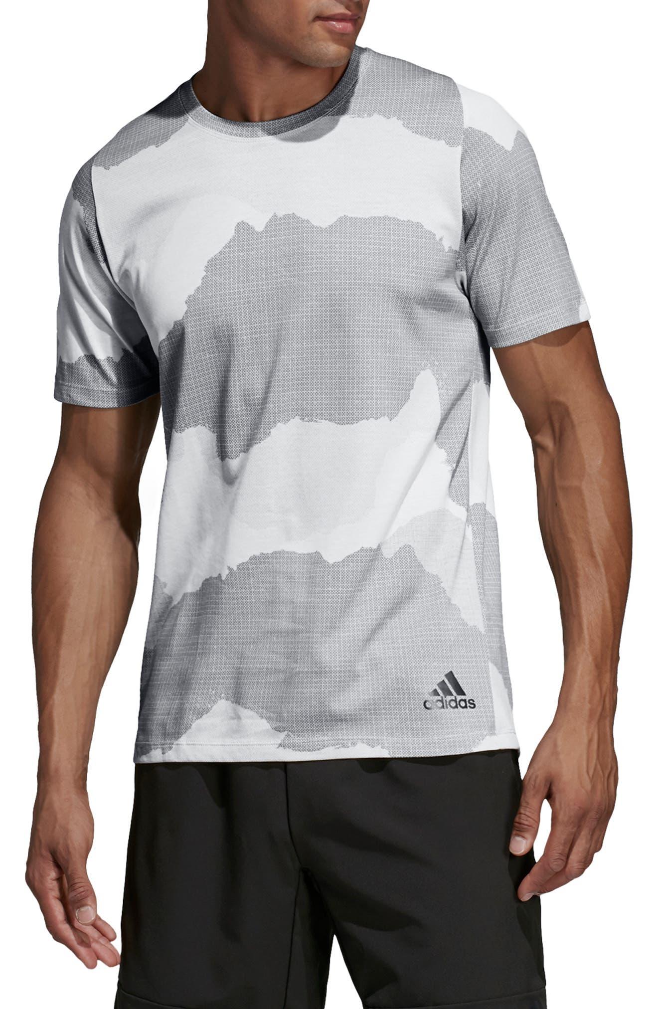 ADIDAS,                             Tech Camo T-Shirt,                             Main thumbnail 1, color,                             RAW WHITE/ GREY