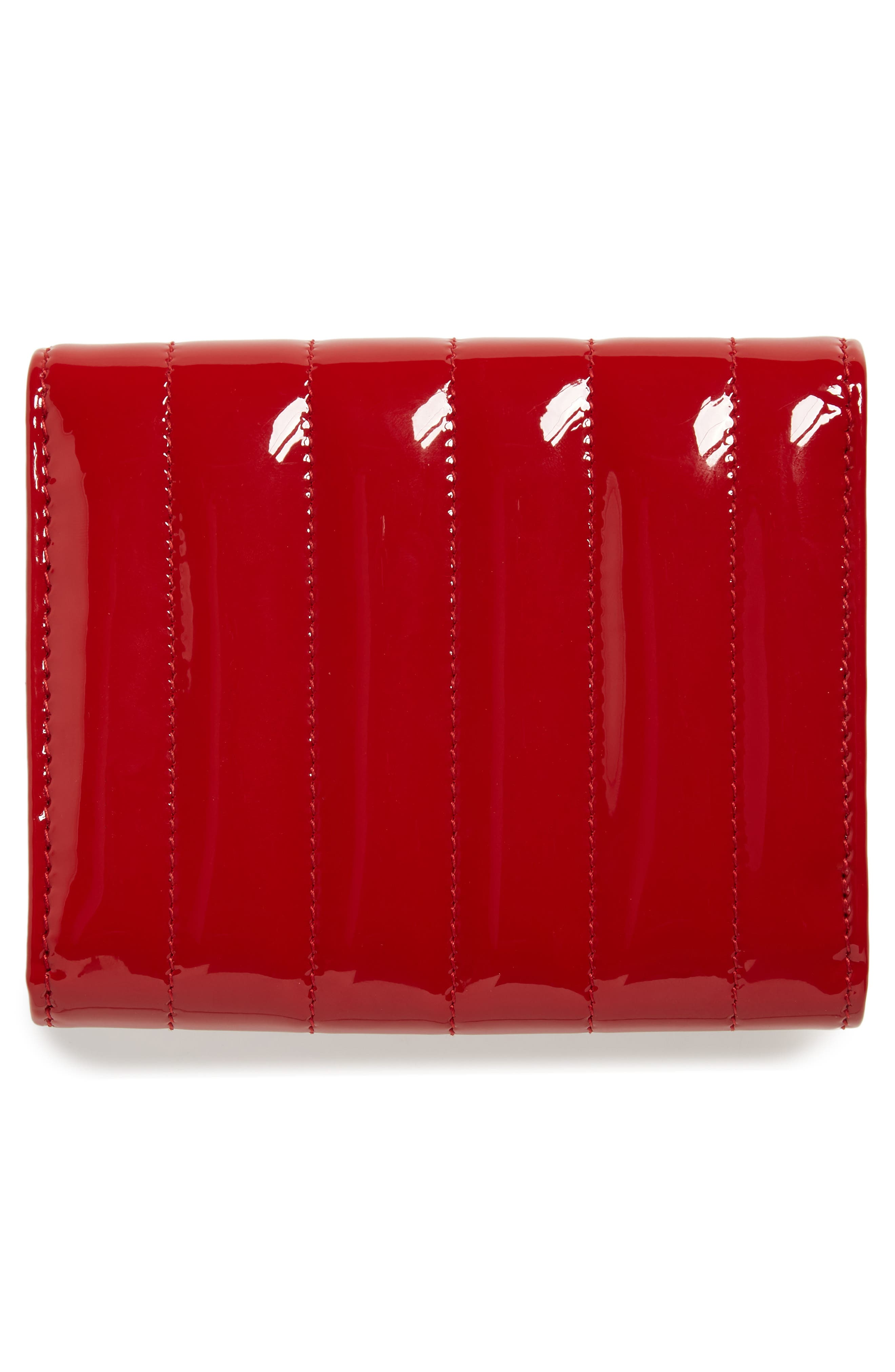 Vicky Patent Leather Trifold Wallet,                             Alternate thumbnail 4, color,                             ROUGE EROS/ ROUGE EROS