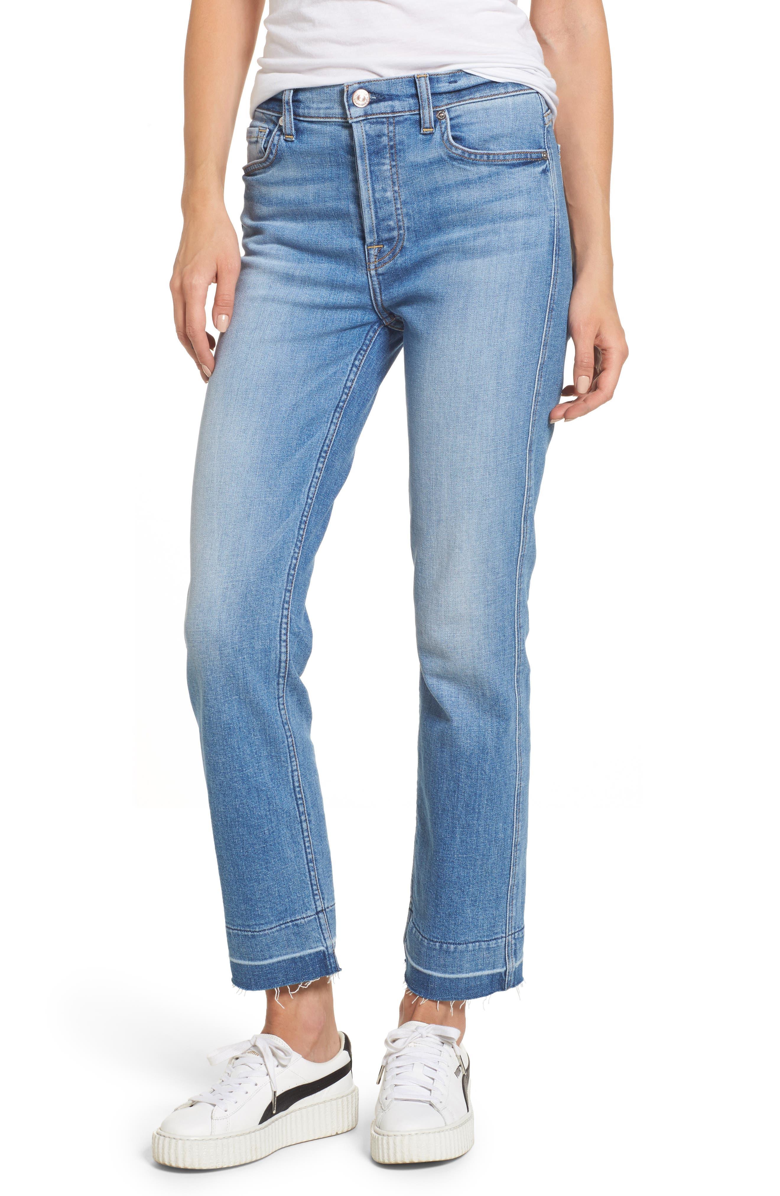 Edie High Waist Crop Release Hem Jeans,                             Main thumbnail 1, color,                             400