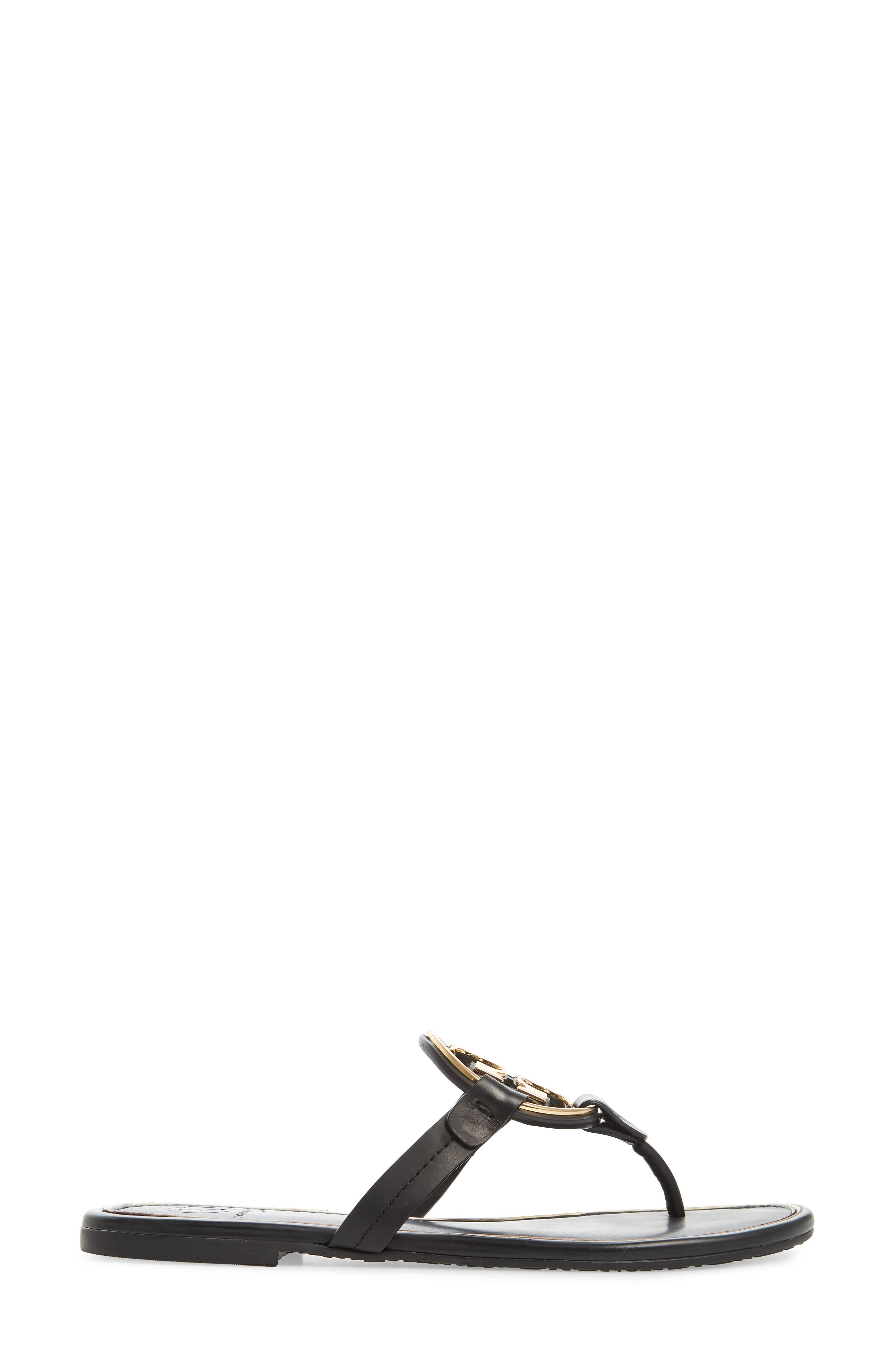 TORY BURCH,                             Metal Miller Flip Flop,                             Alternate thumbnail 3, color,                             PERFECT BLACK/ GOLD