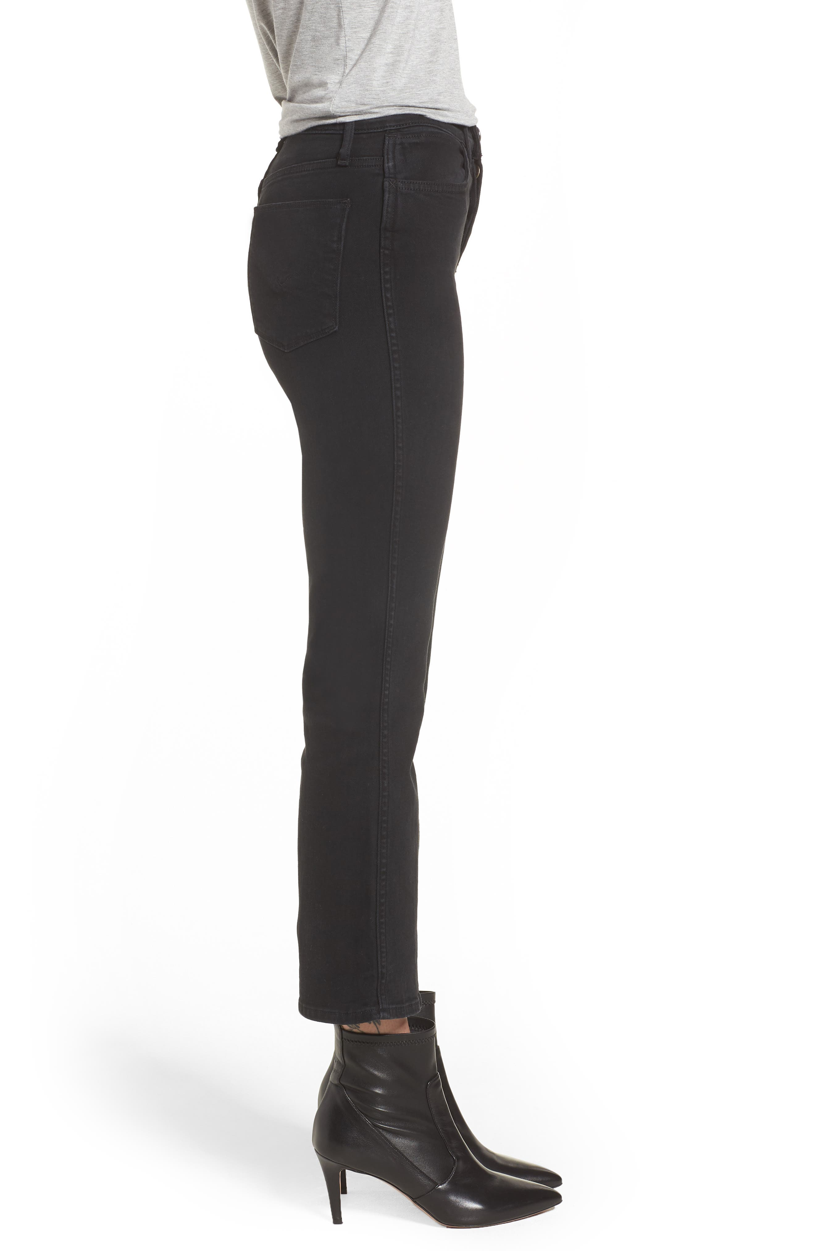 Holly High Waist Crop Flare Jeans,                             Alternate thumbnail 3, color,                             001