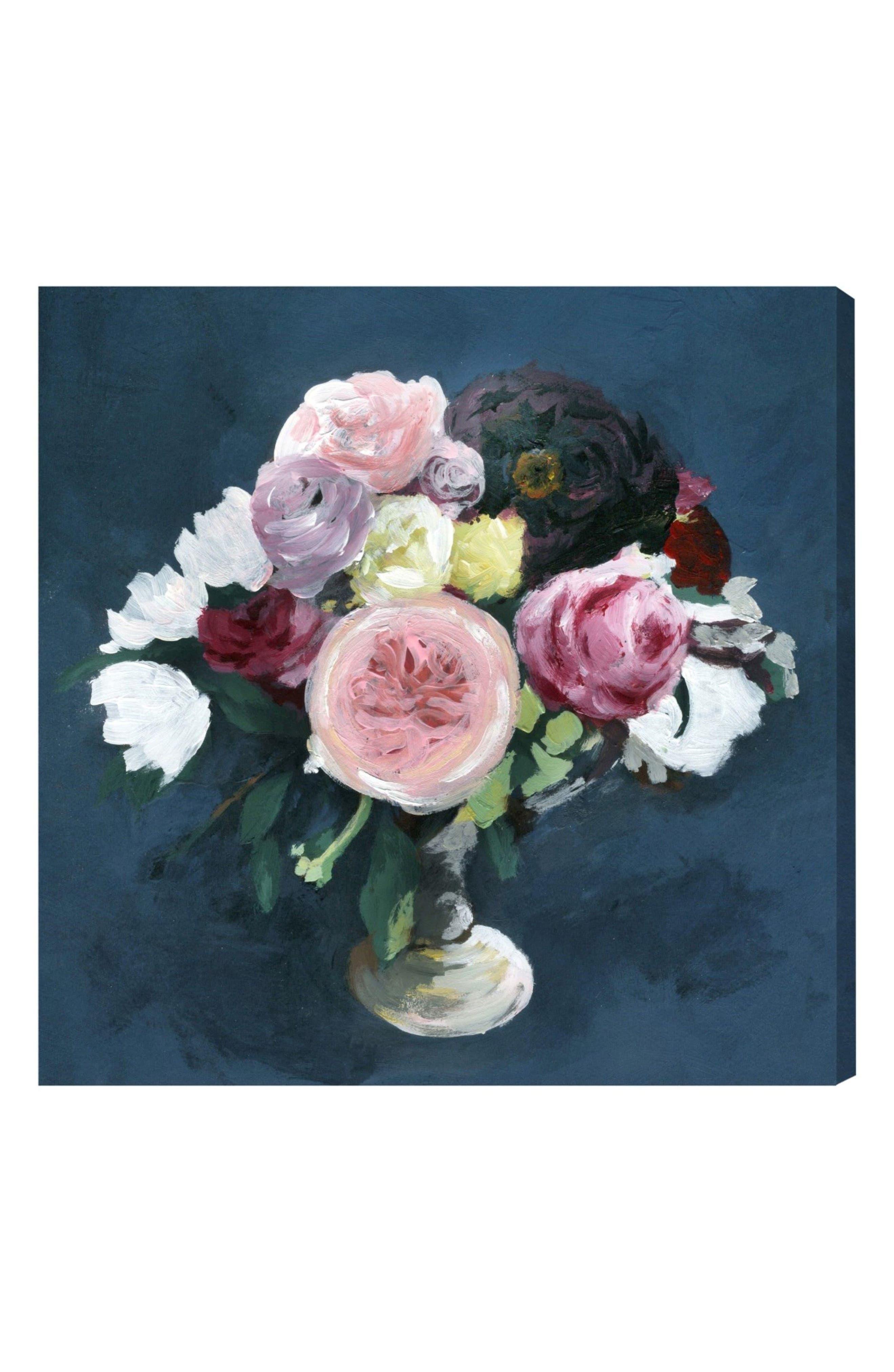 Night Bouquet Canvas Wall Art,                         Main,                         color, BLUE