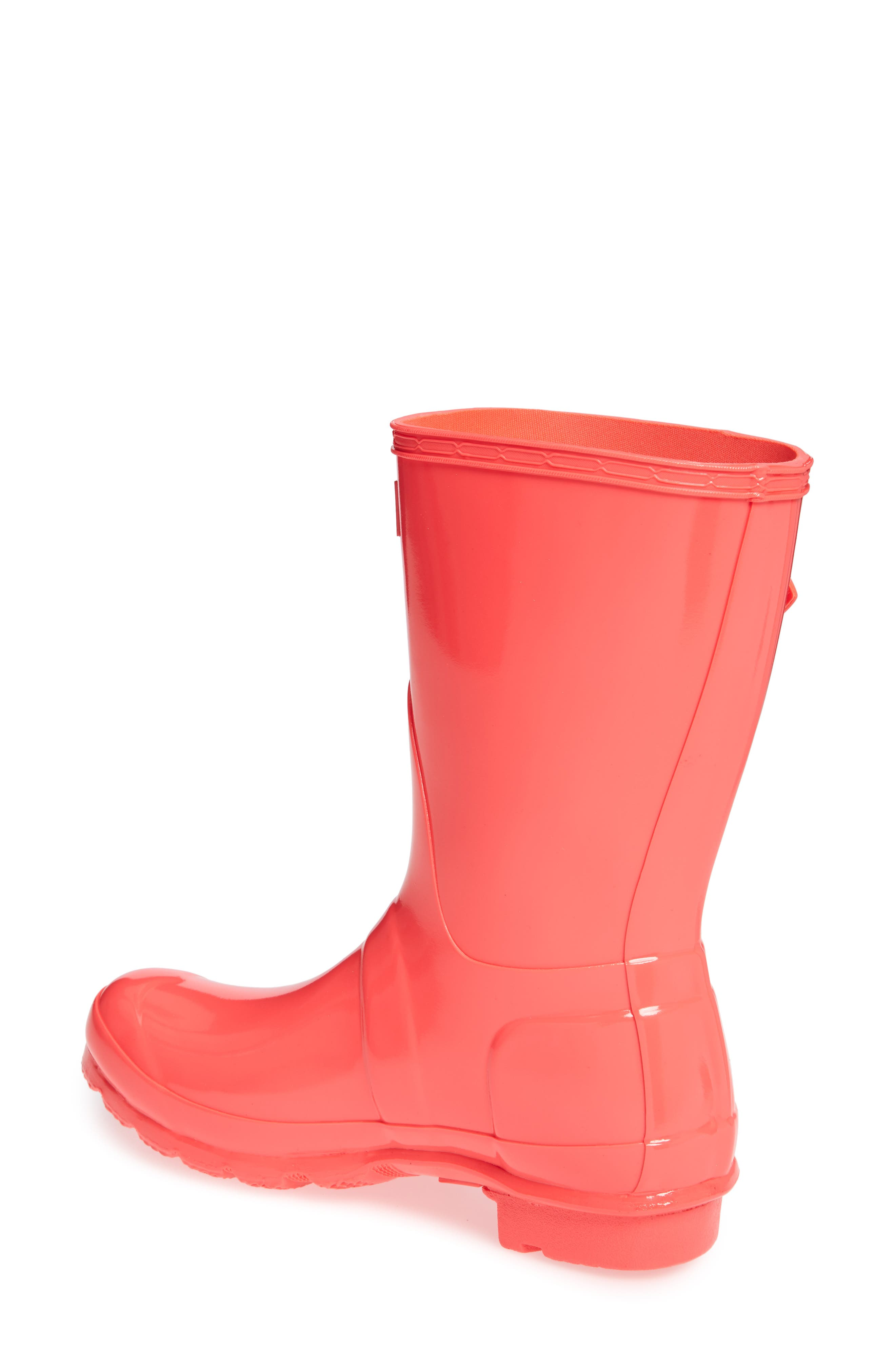 Original Short Gloss Rain Boot,                             Alternate thumbnail 3, color,                             HYPER PINK