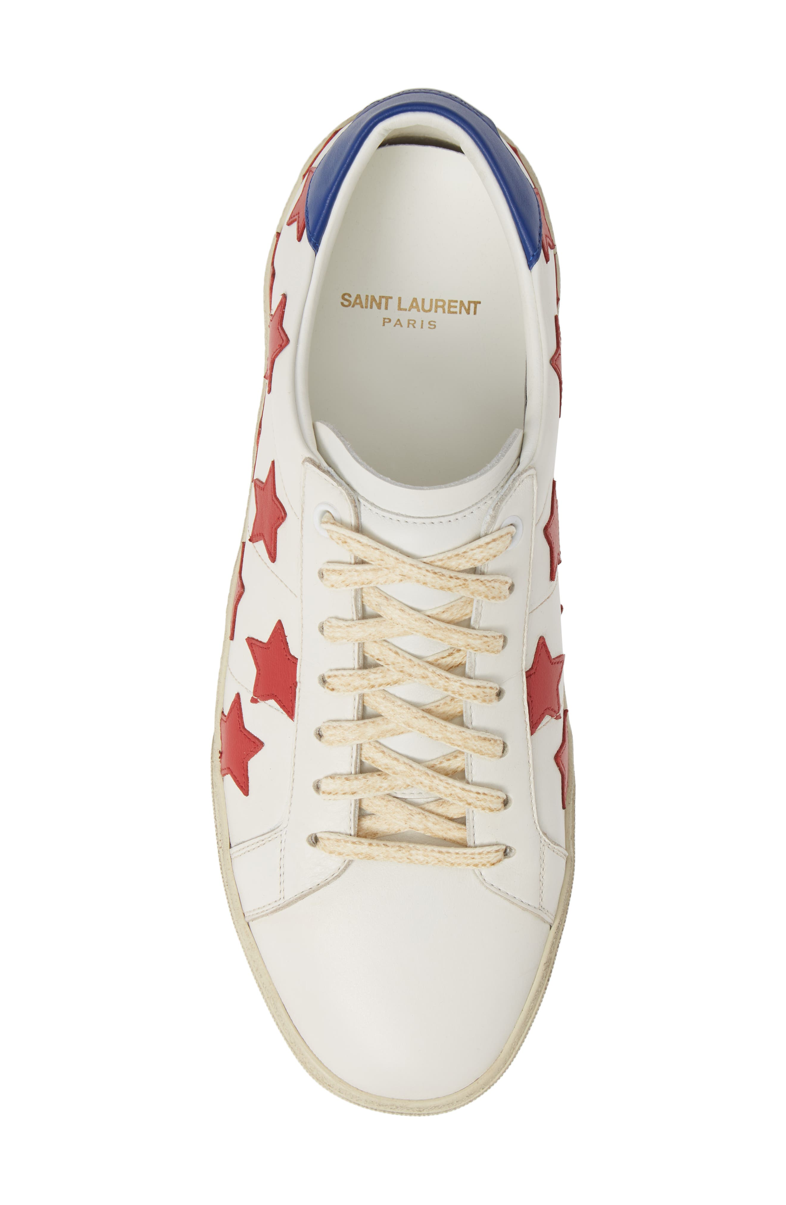 SAINT LAURENT,                             Star Low-Top Sneaker,                             Alternate thumbnail 5, color,                             WHITE/ MULTI