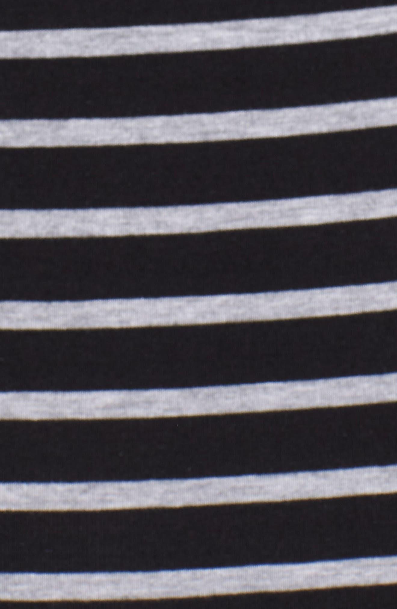 Maternity/Nursing Henley T-Shirt Dress,                             Alternate thumbnail 6, color,                             BLACK/ GREY