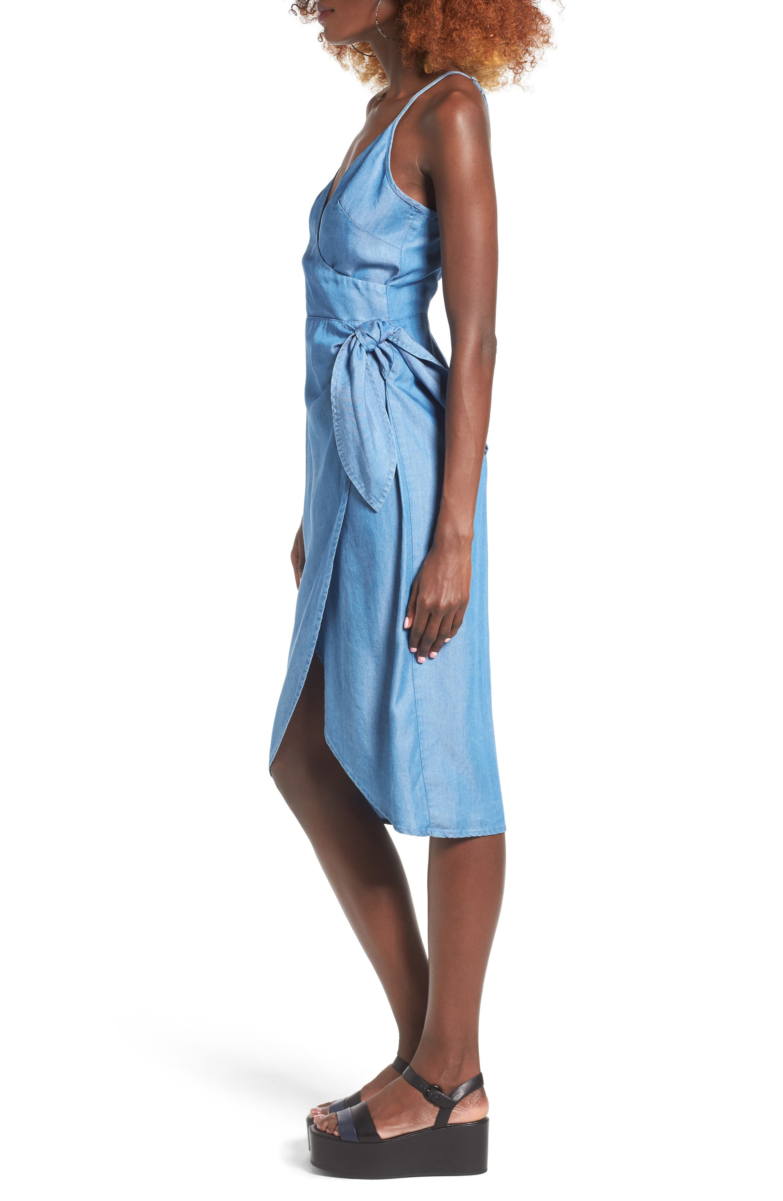 Orchid Chambray Wrap Dress,                             Alternate thumbnail 3, color,                             400