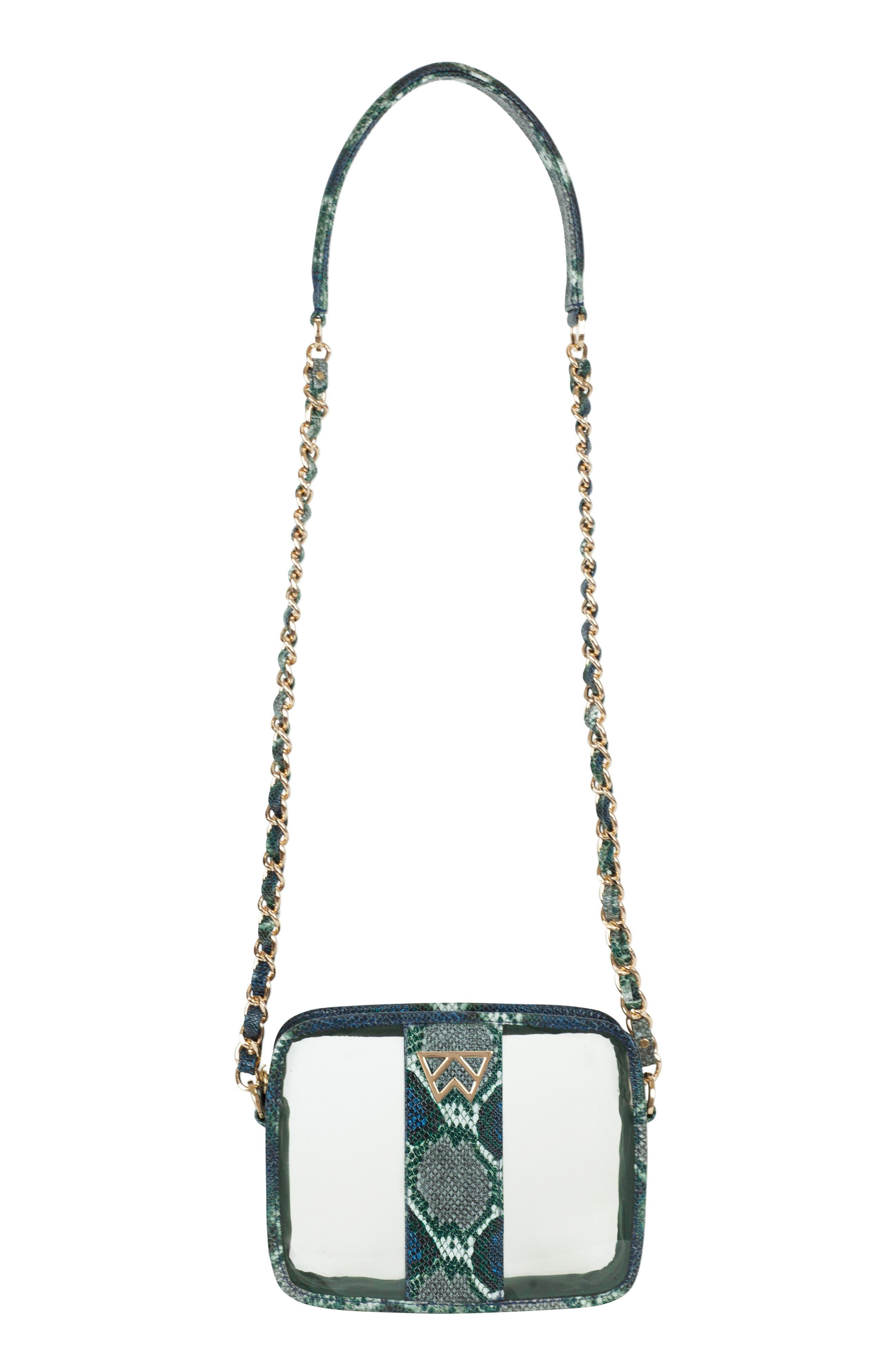 Clear Mingle Mingle Mini Crossbody Bag,                             Main thumbnail 1, color,                             GREEN MULTI PYTHON