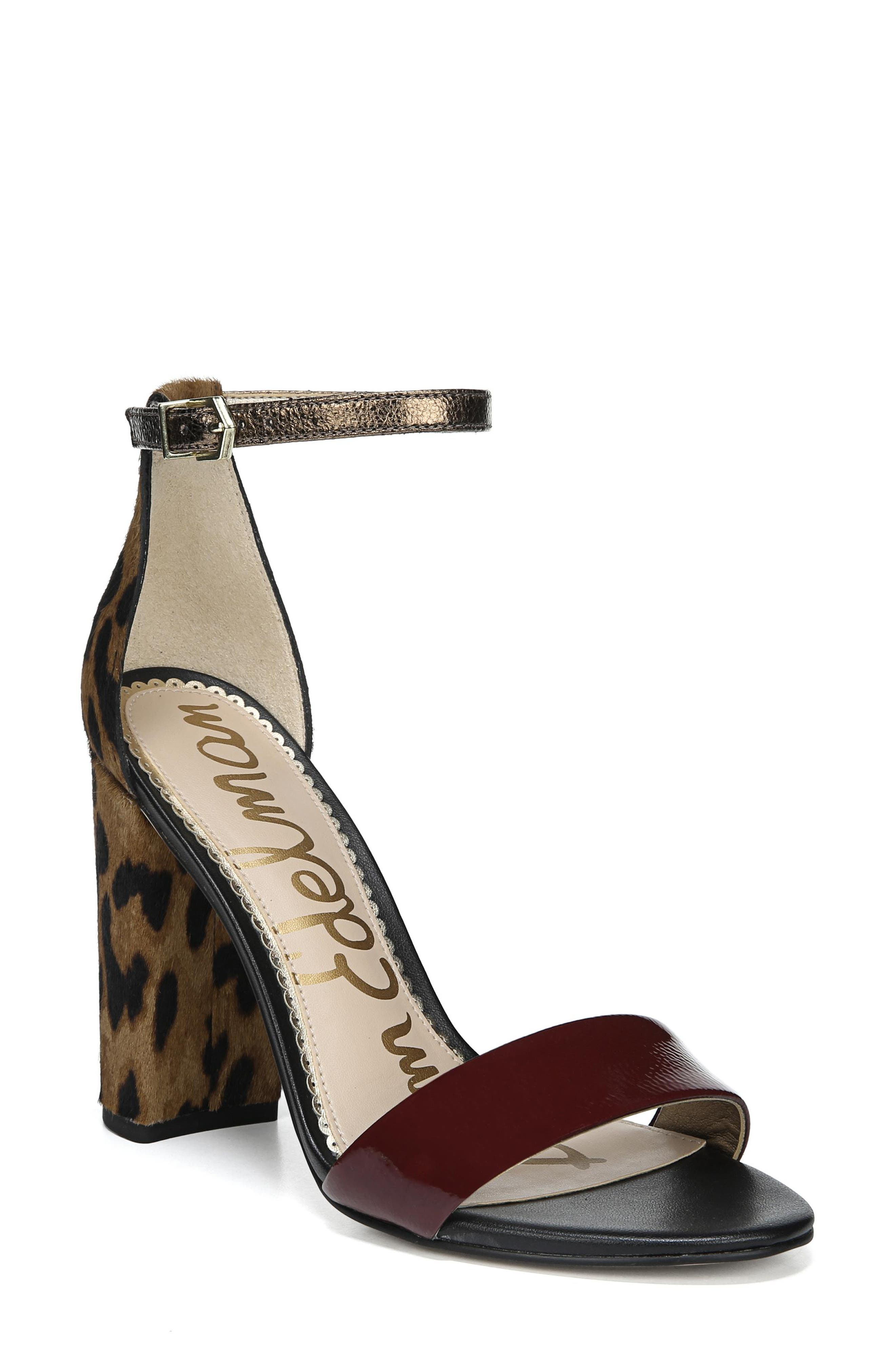 Yaro Ankle Strap Sandal,                         Main,                         color, LEOPARD MULTI CALF HAIR