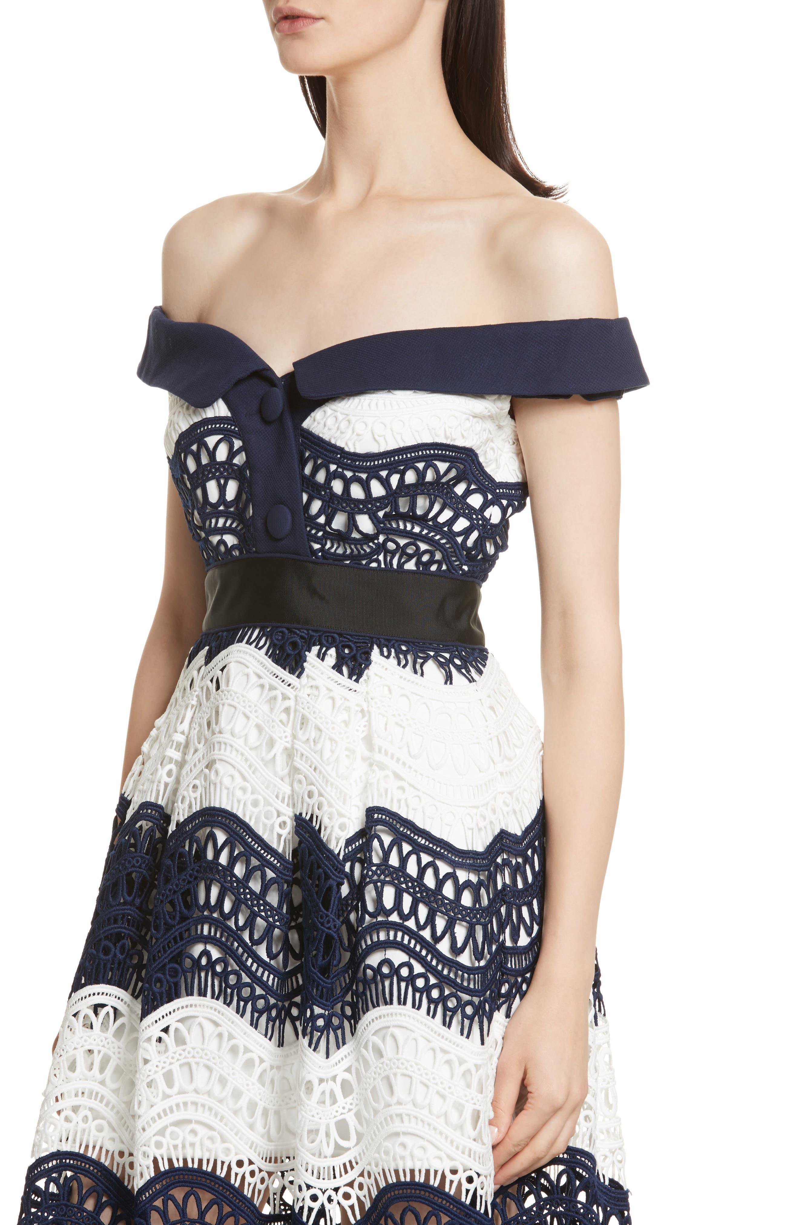 Wave Lace Off the Shoulder Midi Dress,                             Alternate thumbnail 4, color,                             100