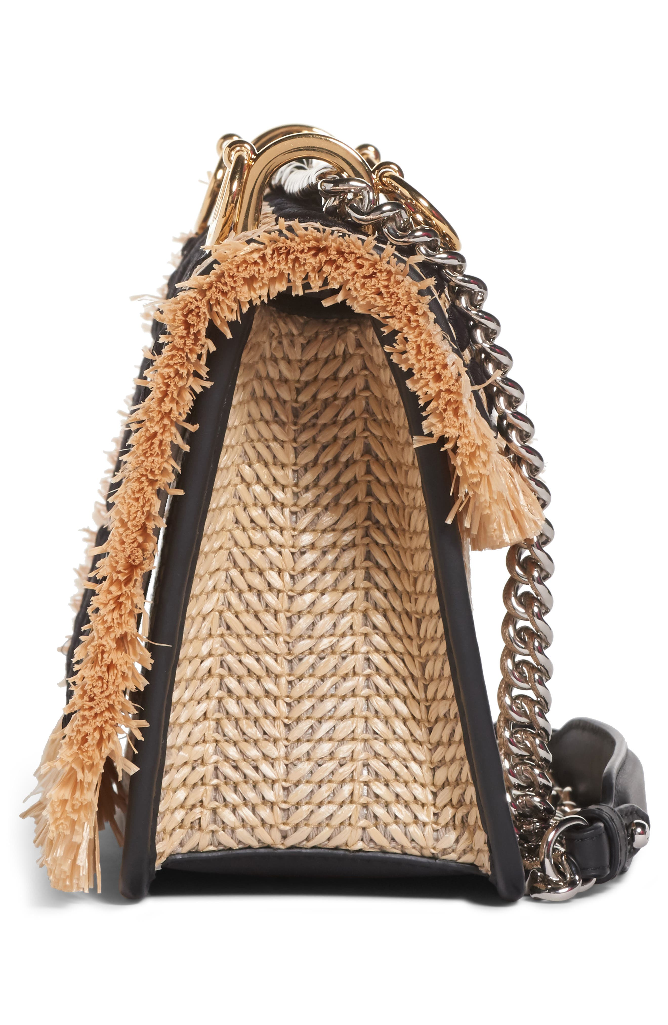 Kan I Raffia & Leather Small Shoulder Bag,                             Alternate thumbnail 5, color,                             NATURAL/ NERO