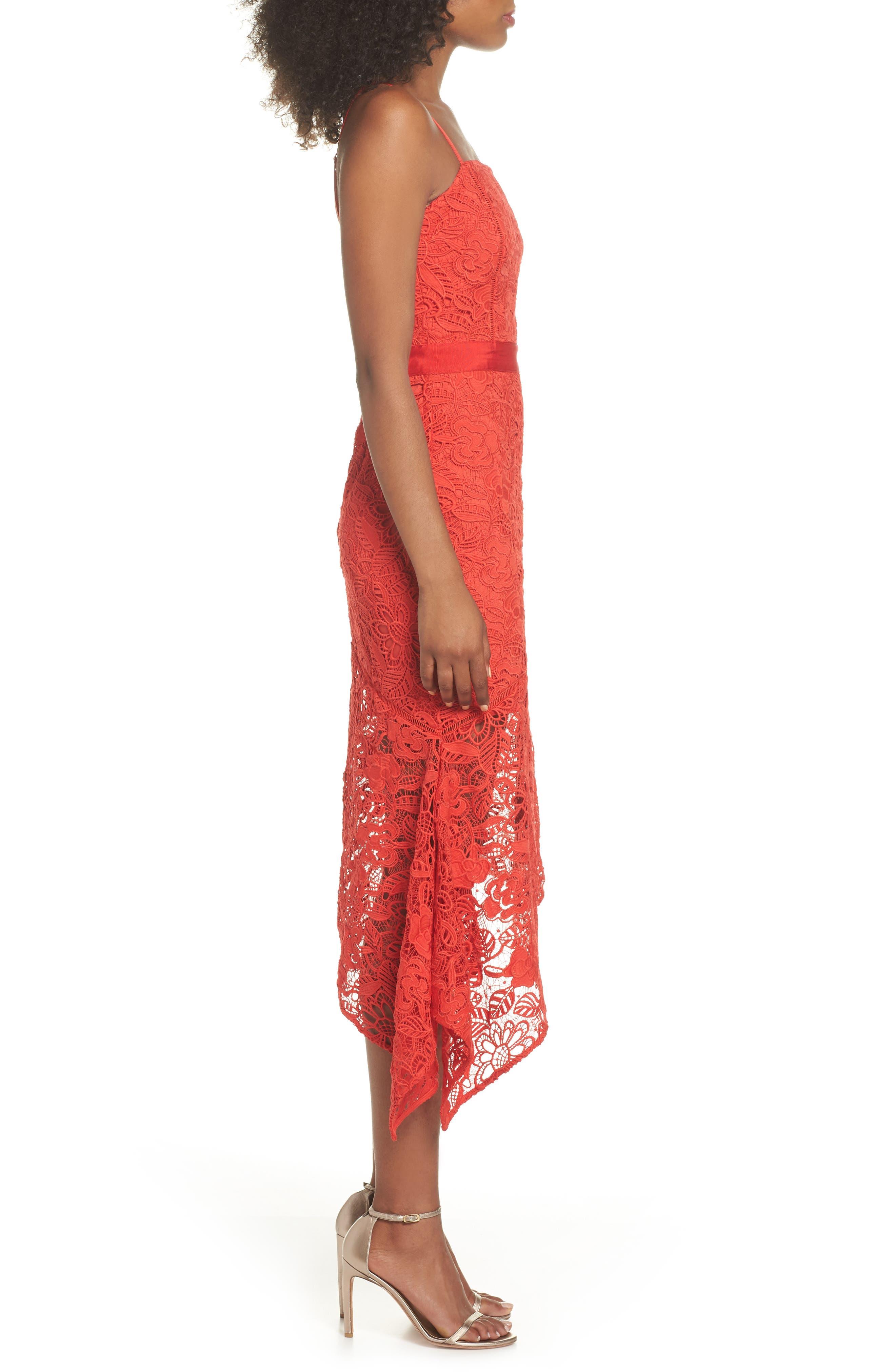 Asymmetrical Hem Lace Dress,                             Alternate thumbnail 3, color,                             600