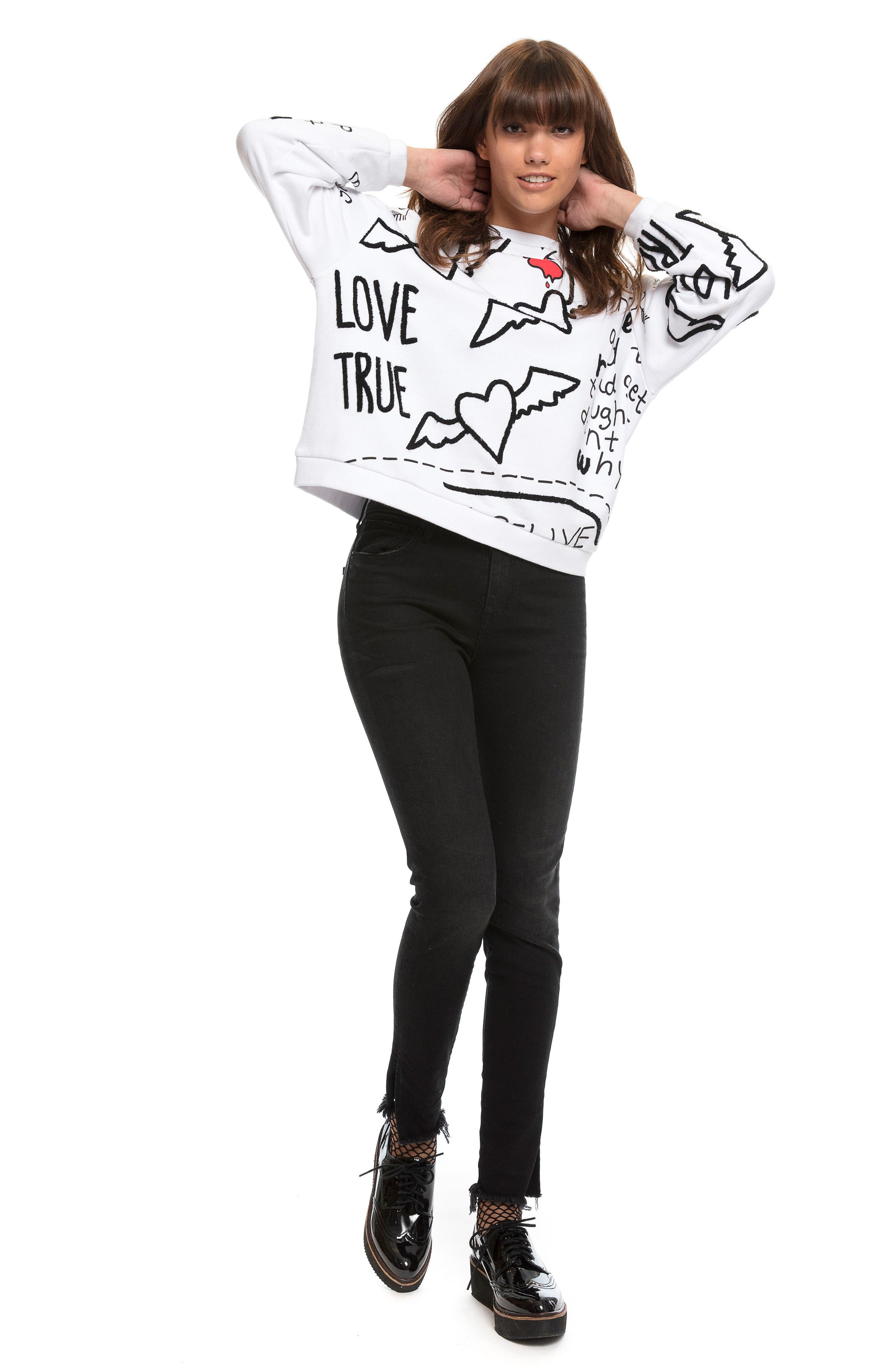 Love Note Sweatshirt,                             Alternate thumbnail 6, color,                             100