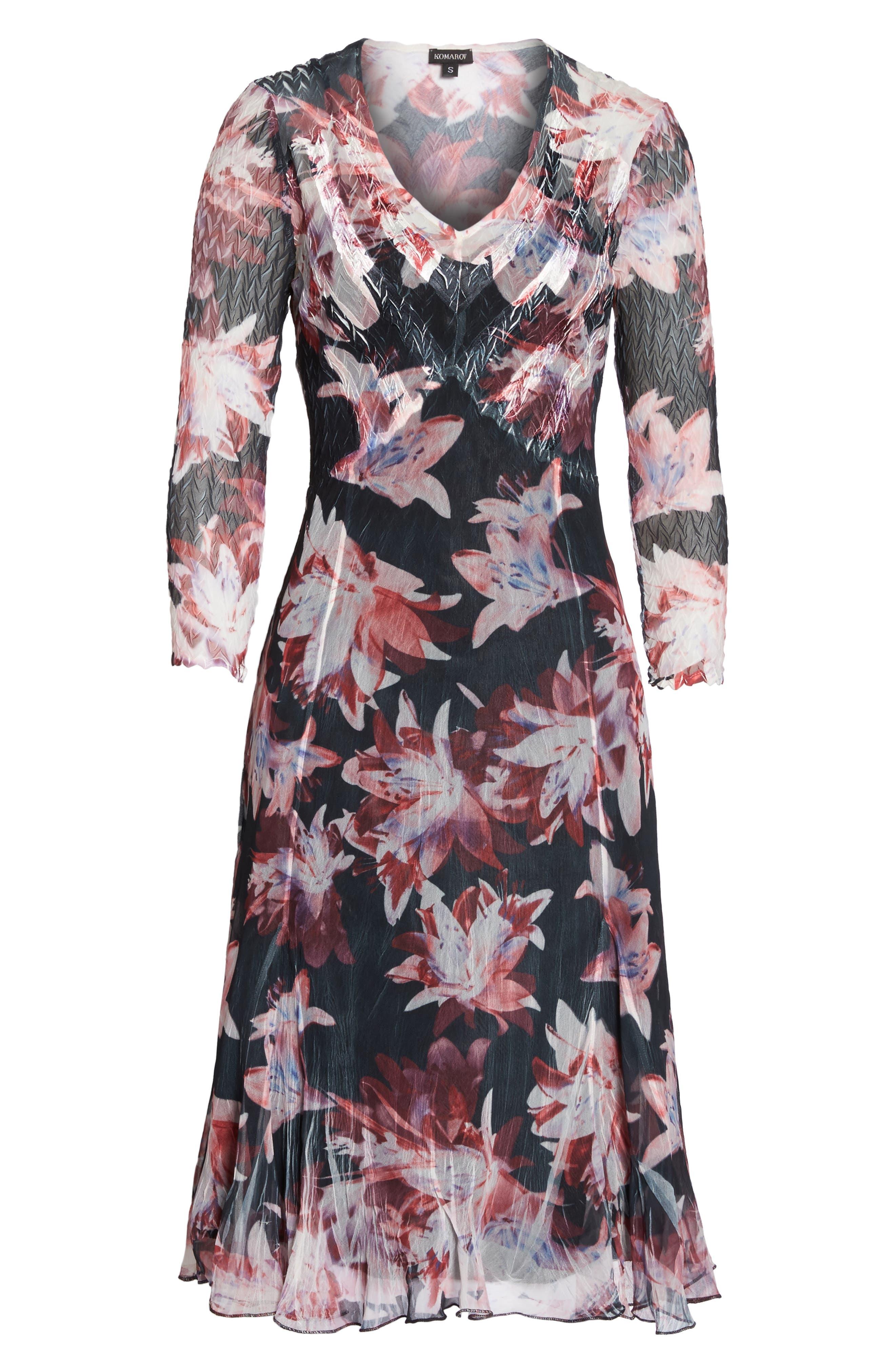 Print Chiffon A-Line Dress,                             Alternate thumbnail 6, color,                             007
