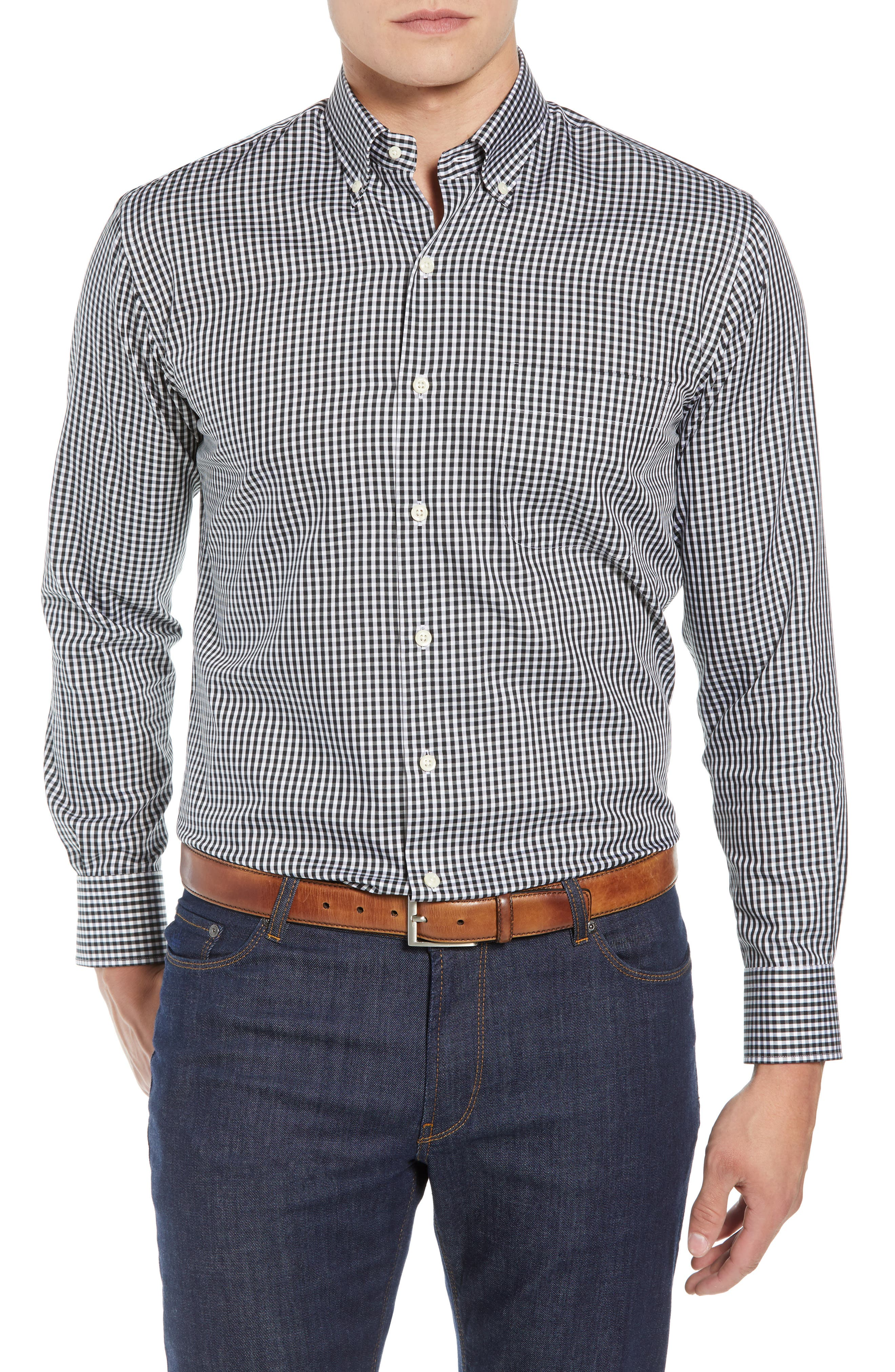 Crown Soft Gingham Regular Fit Sport Shirt,                             Main thumbnail 1, color,                             BLACK