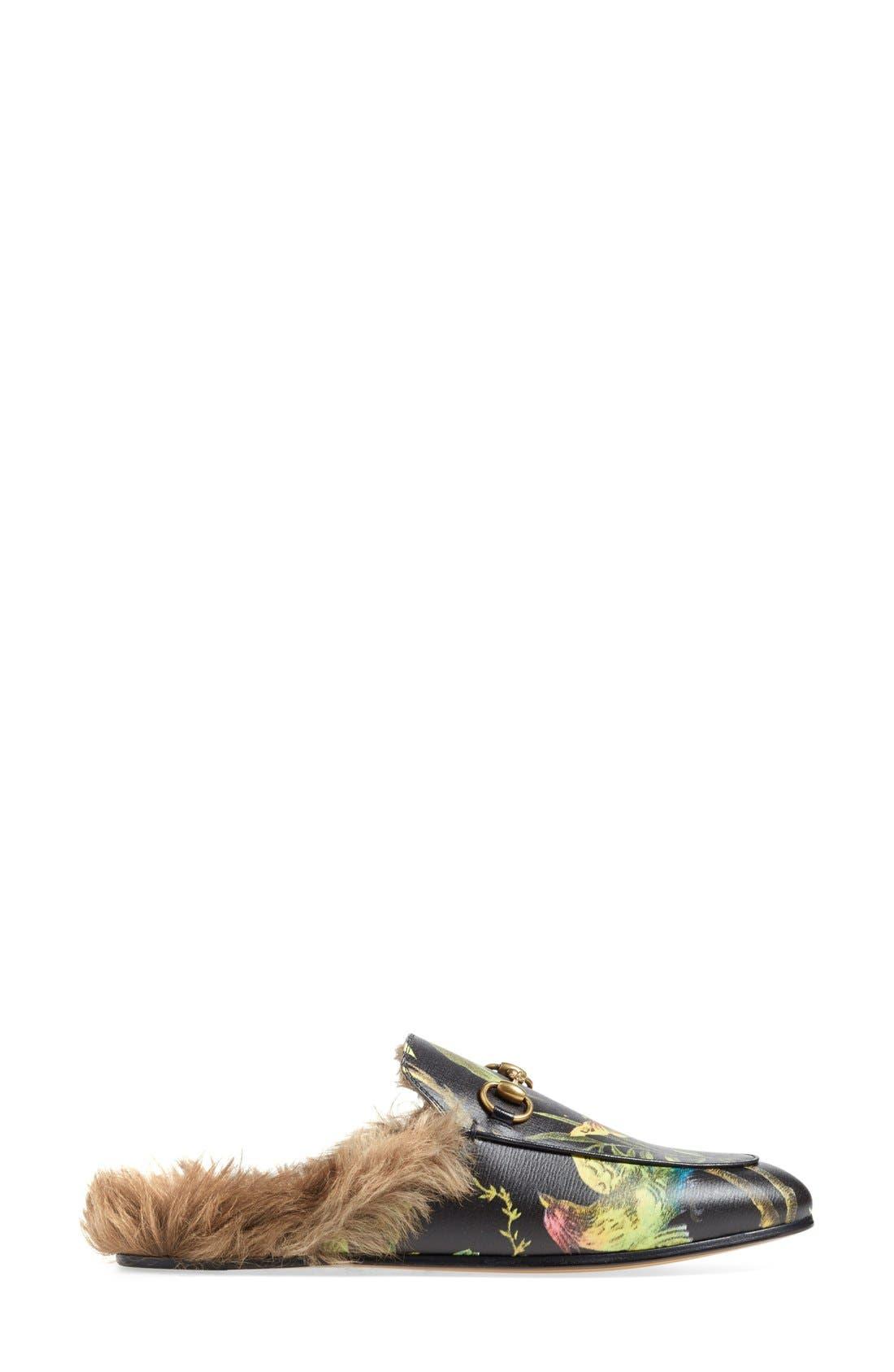 Princetown Genuine Fur Loafer Mule,                             Alternate thumbnail 4, color,                             001