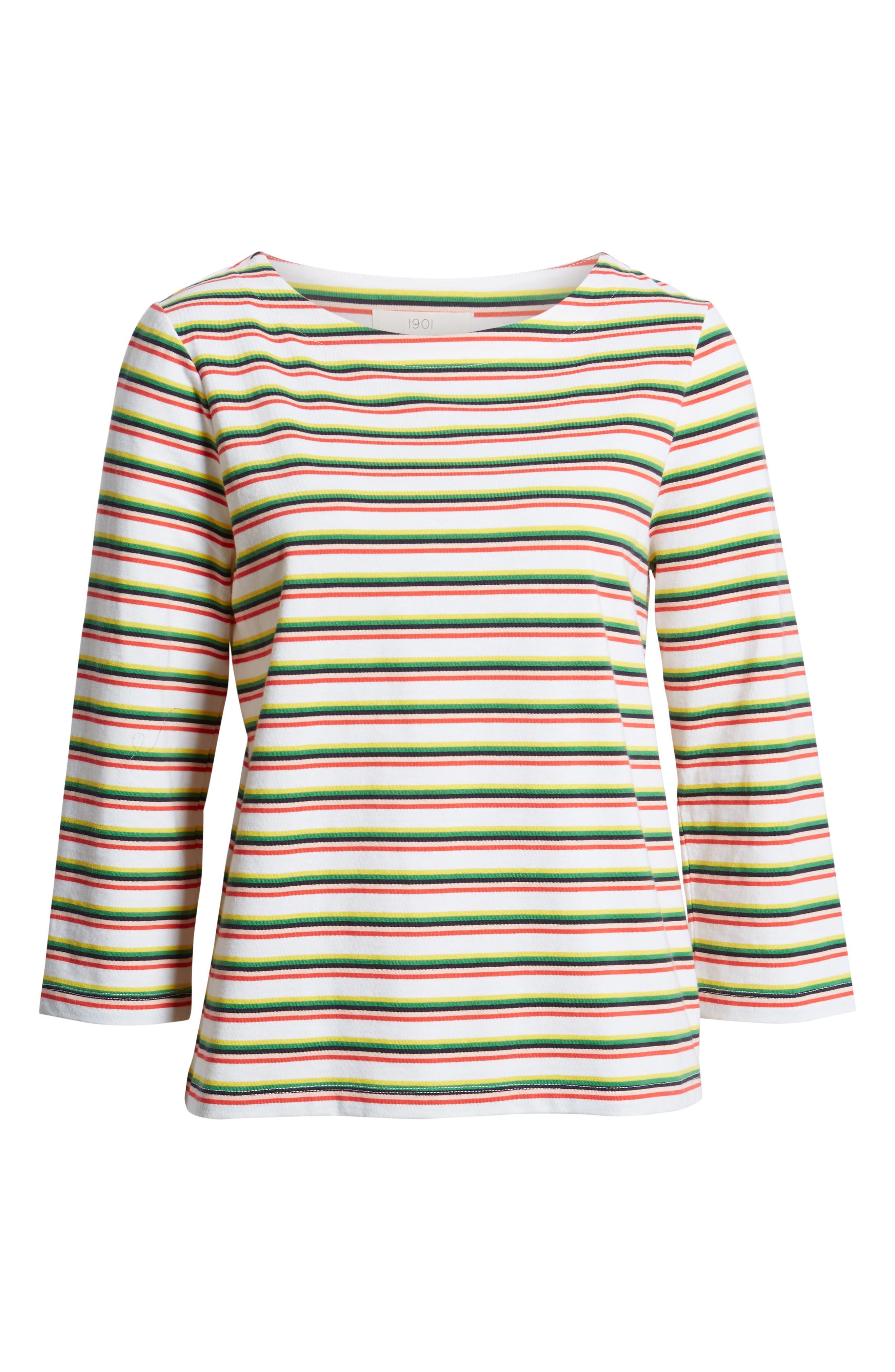 Stripe Top,                             Alternate thumbnail 6, color,                             WHITE MULTI PRIDE STRIPE