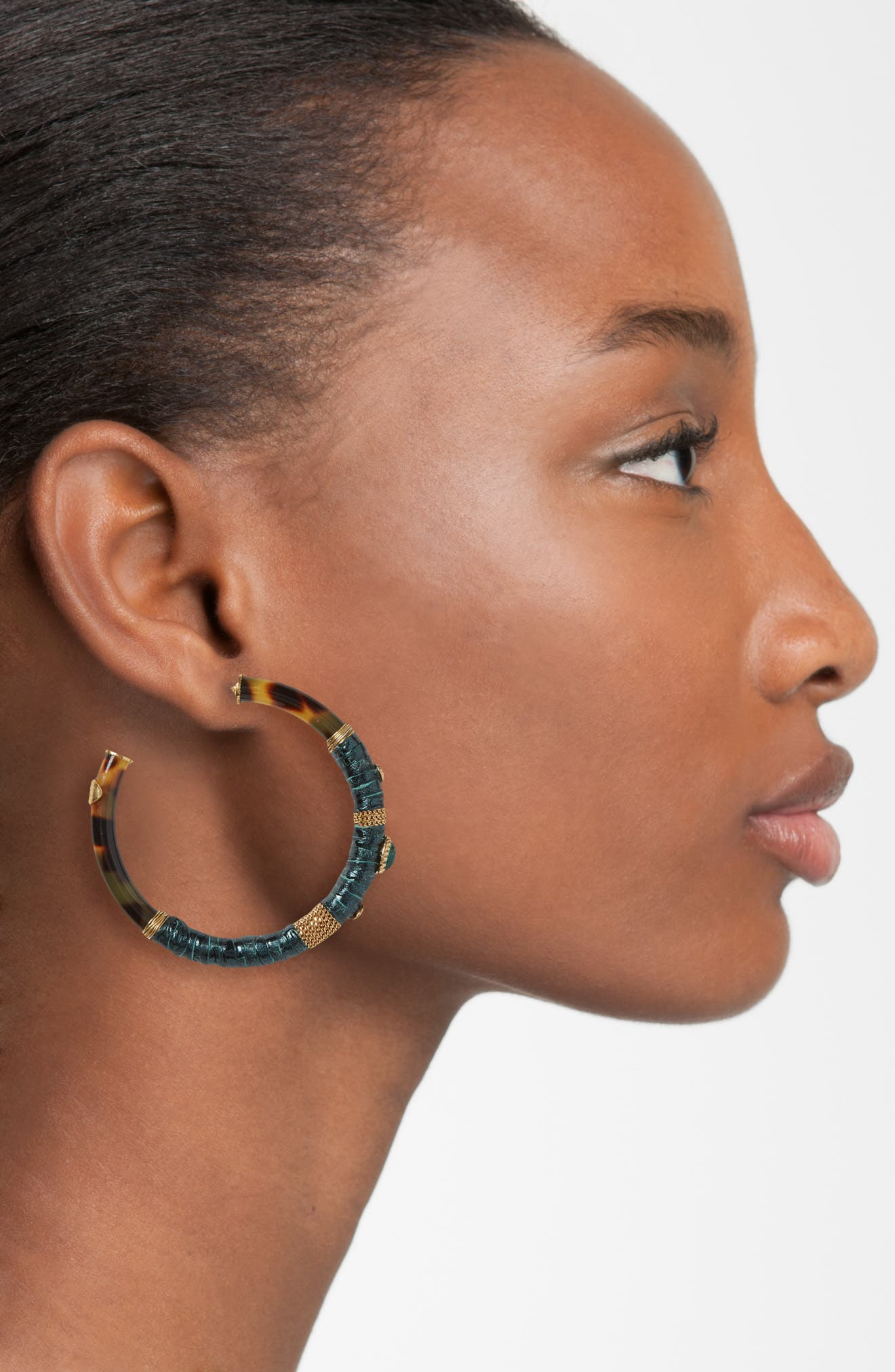 Porto Genuine Snakeskin Hoop Earrings,                             Alternate thumbnail 2, color,                             300
