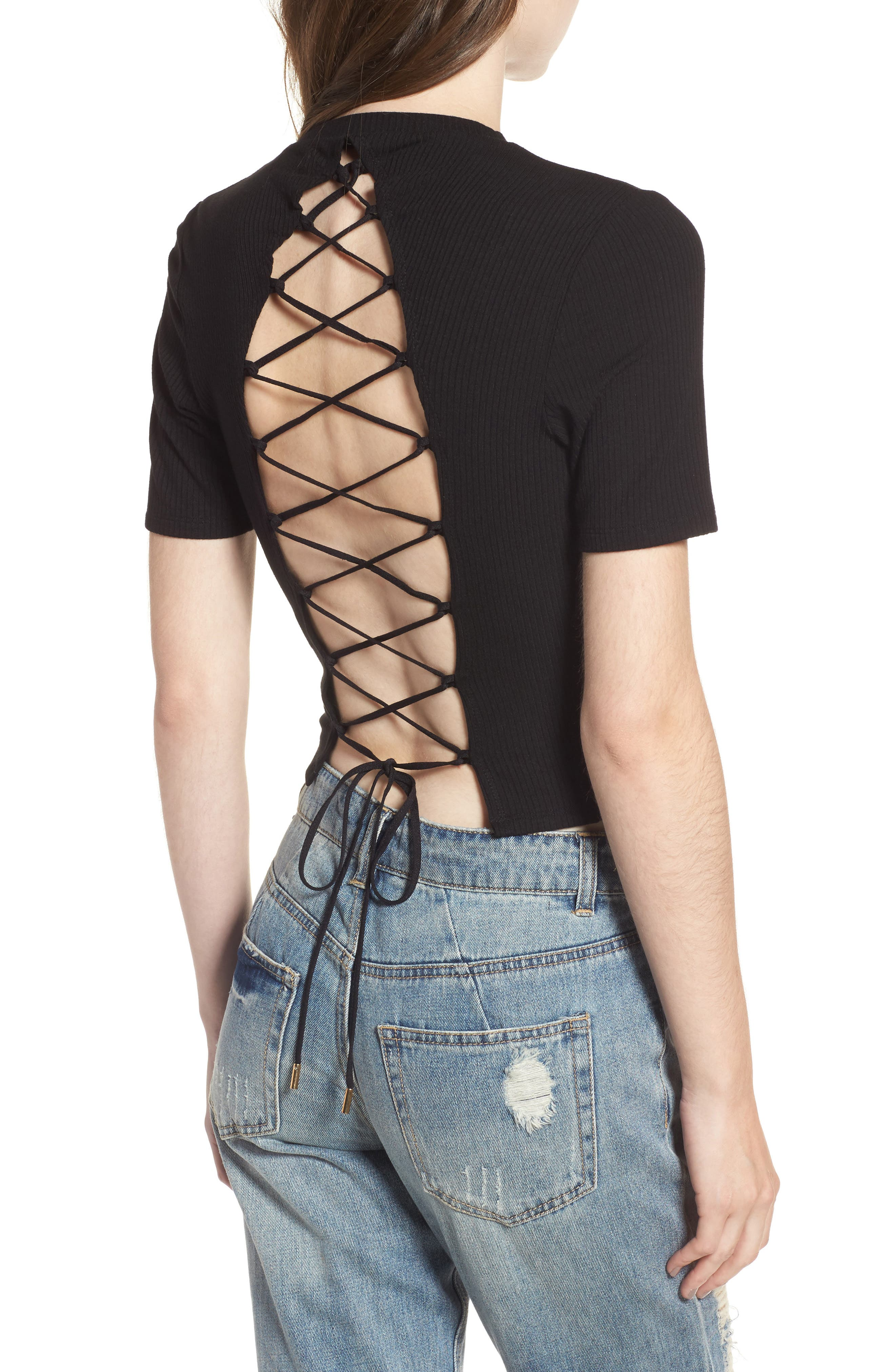 Lace Back Ribbed Crop Top,                             Alternate thumbnail 2, color,                             001