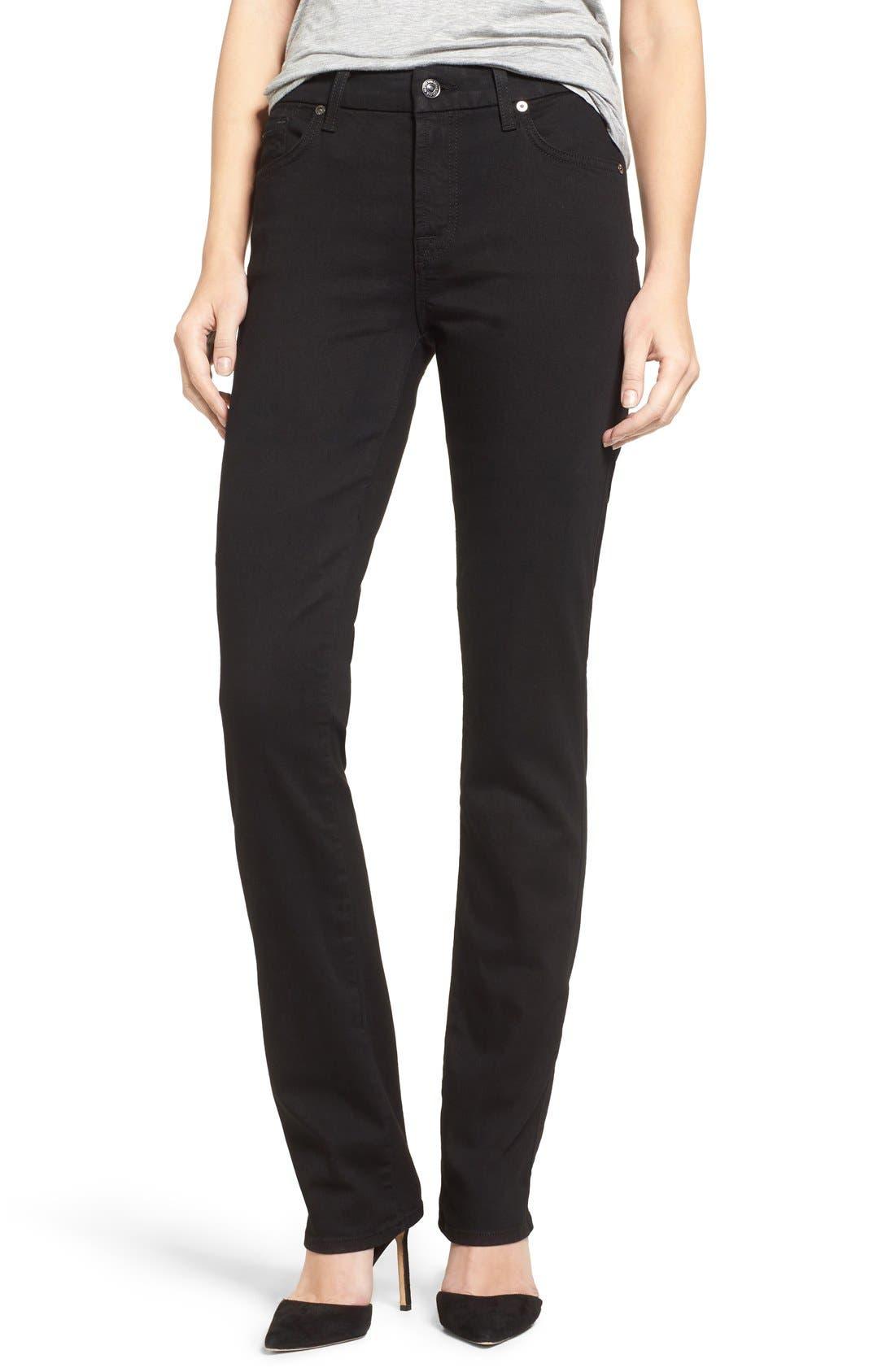 7 FOR ALL MANKIND<SUP>®</SUP>,                             'b(air) - Kimmie' Straight Leg Jeans,                             Main thumbnail 1, color,                             BAIR BLACK