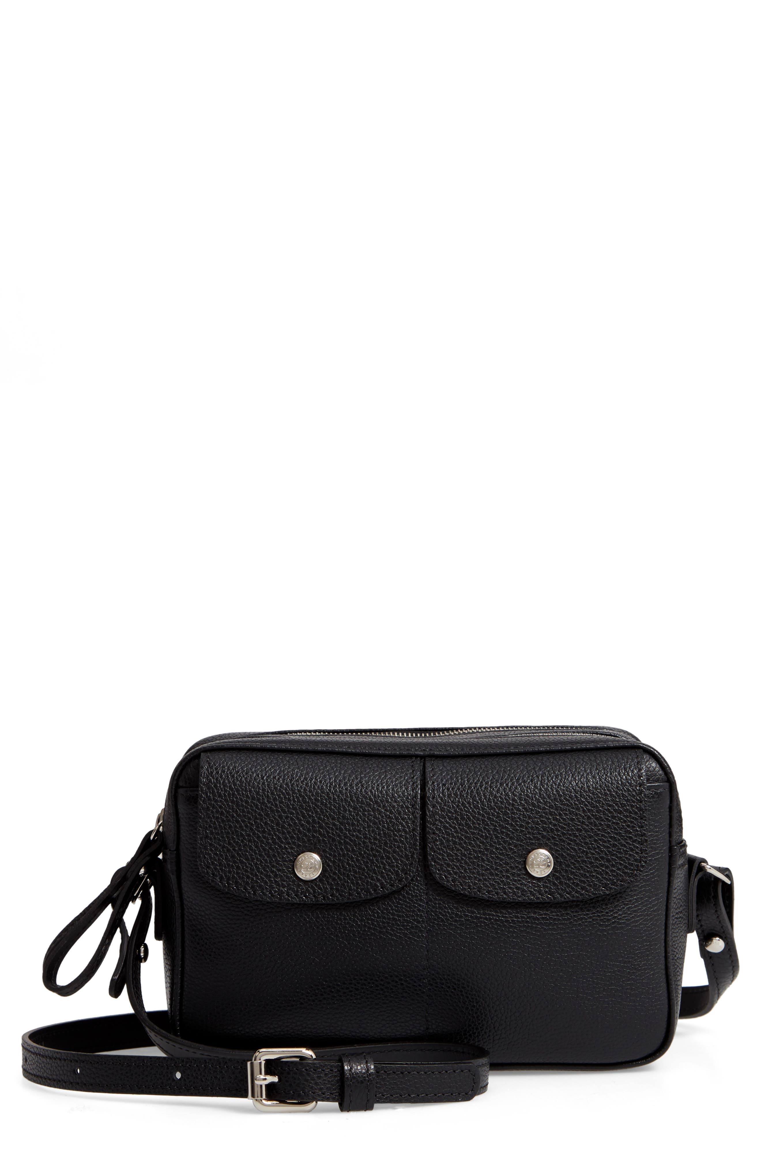 Le Foulonné Leather Camera Bag,                             Main thumbnail 1, color,                             BLACK