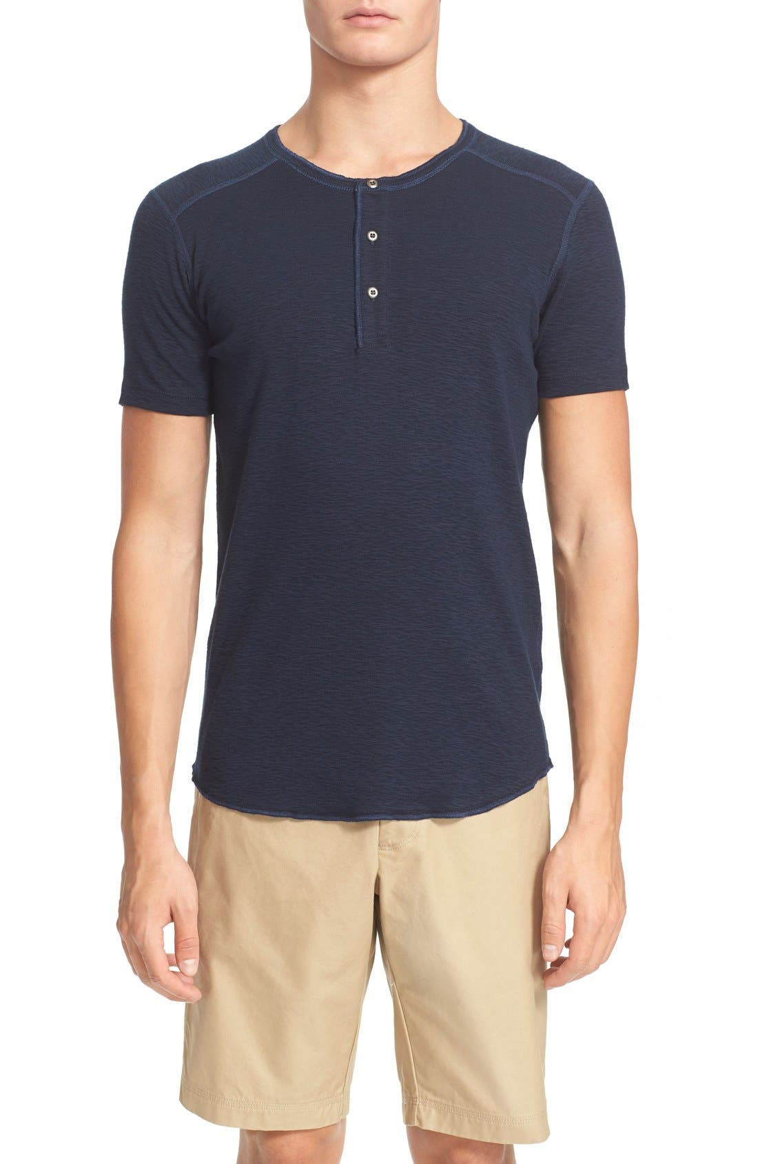 WINGS + HORNS 'Base' Short Sleeve Henley in Navy