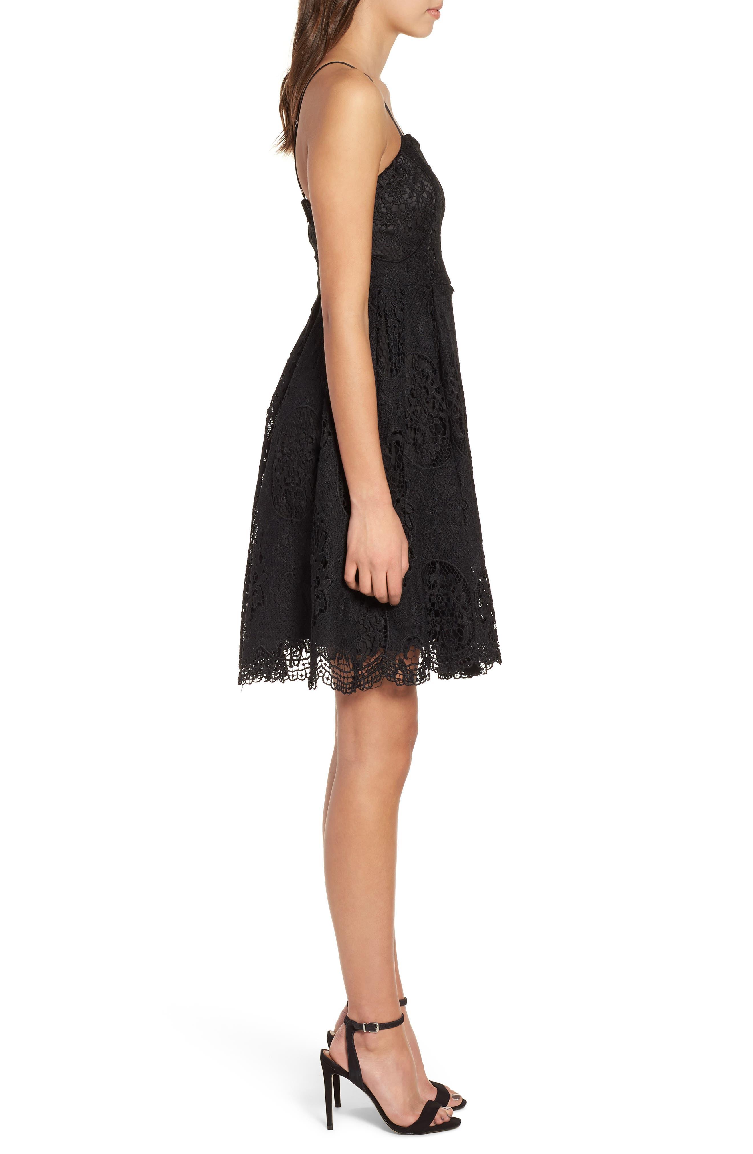 Lace Fit & Flare Dress,                             Alternate thumbnail 3, color,                             001