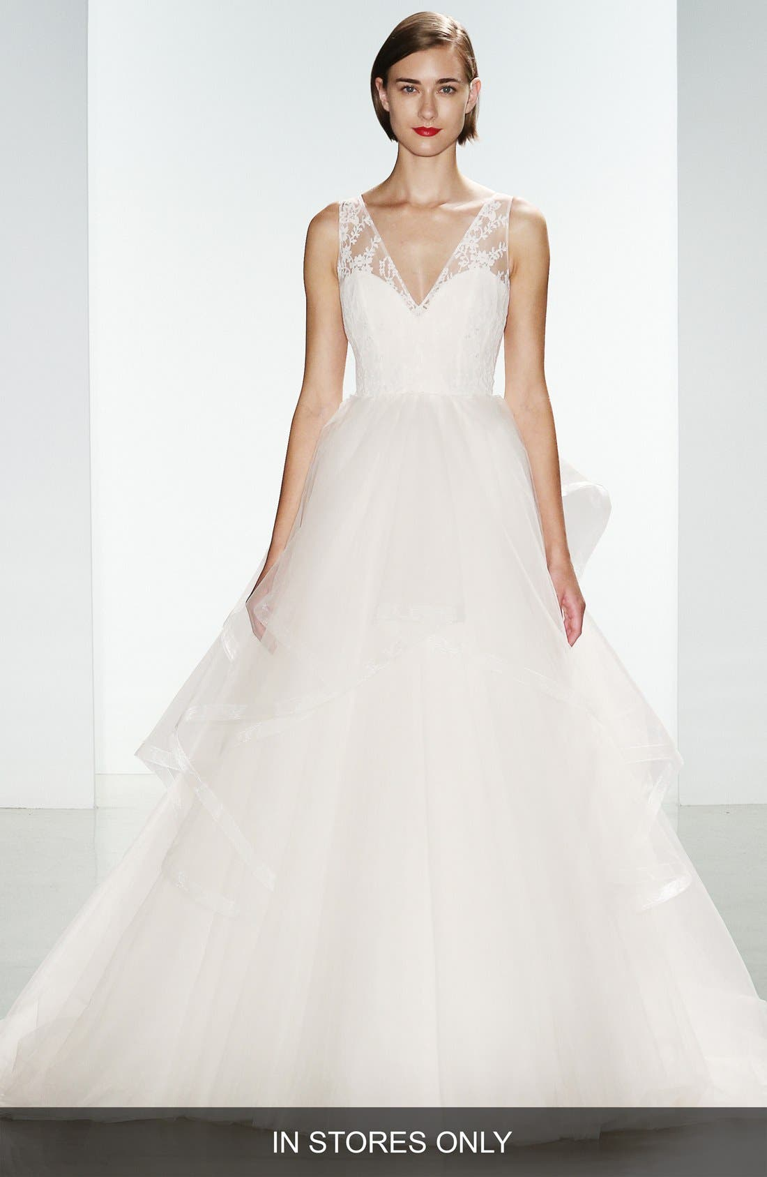 Lexi Lace & Tulle V-neck Ballgown,                         Main,                         color, IVORY