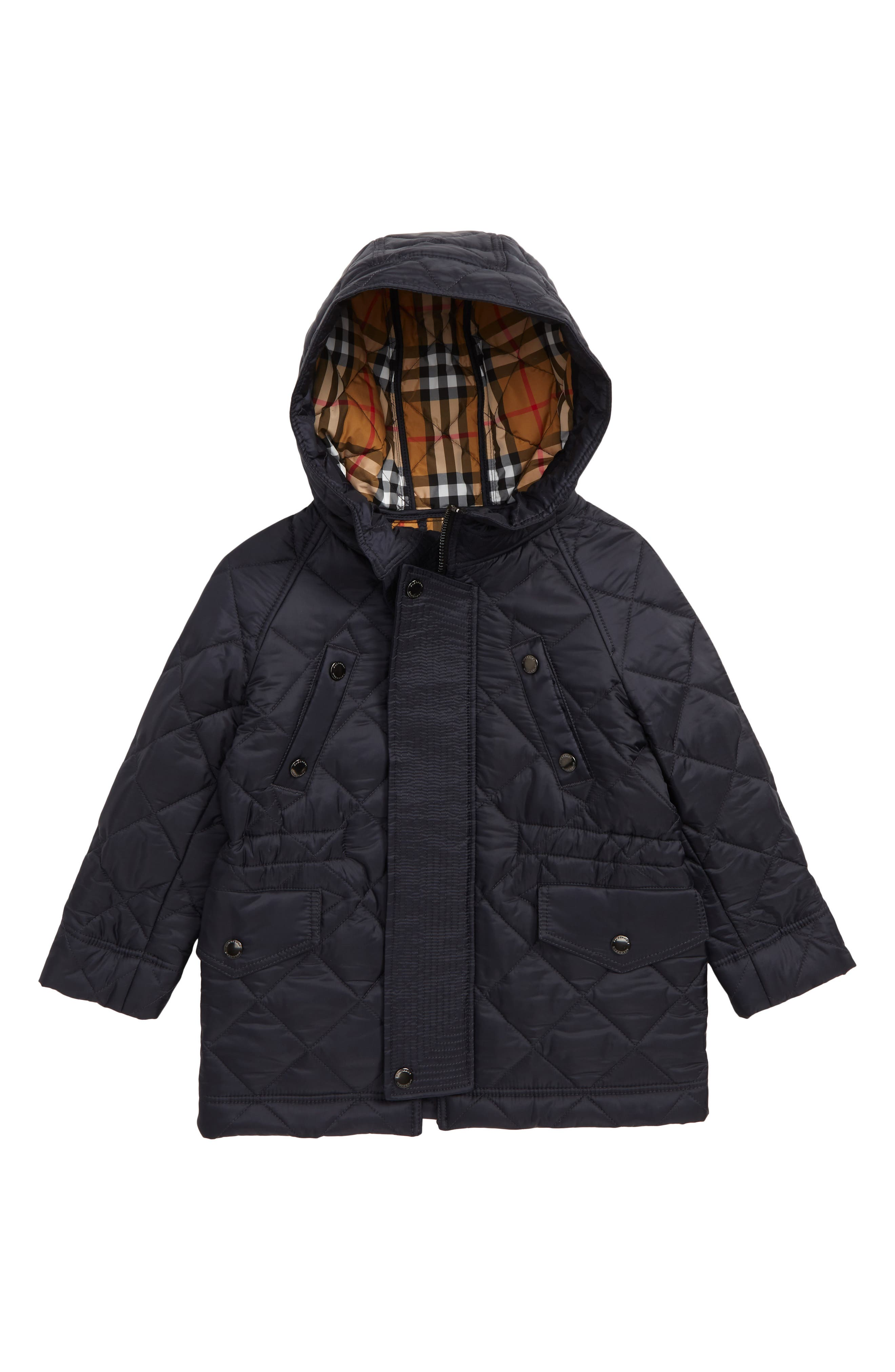 Tyler Quilted Hooded Jacket,                         Main,                         color, NAVY