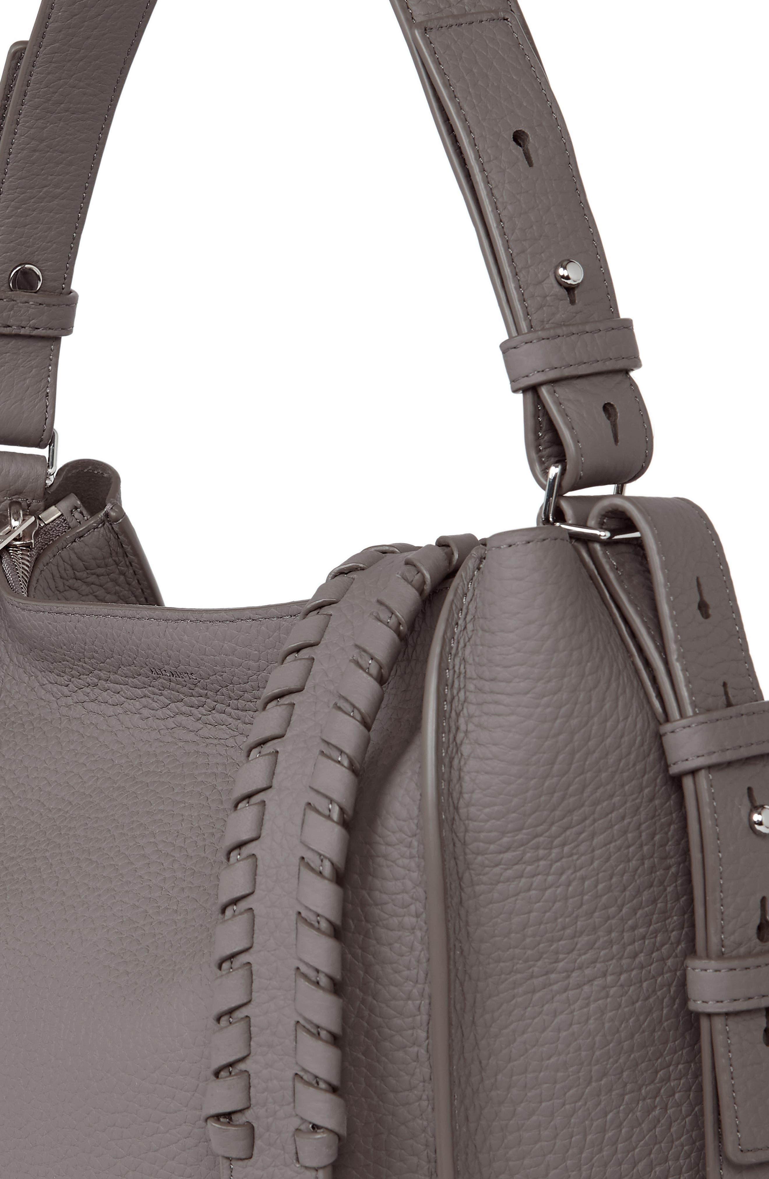 'Kita' Leather Shoulder/Crossbody Bag,                             Alternate thumbnail 4, color,                             STORM GREY