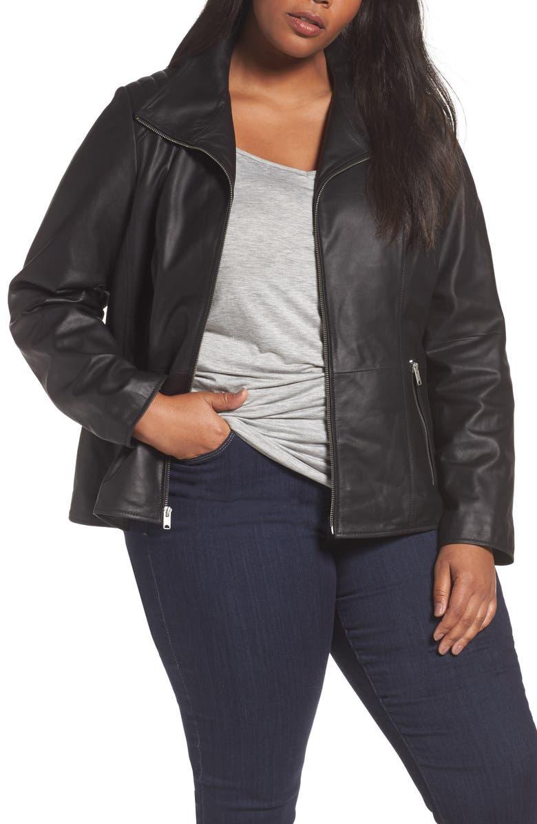 4458e8450fea4 Andrew Marc Fabian Leather Moto Jacket (Plus Size)