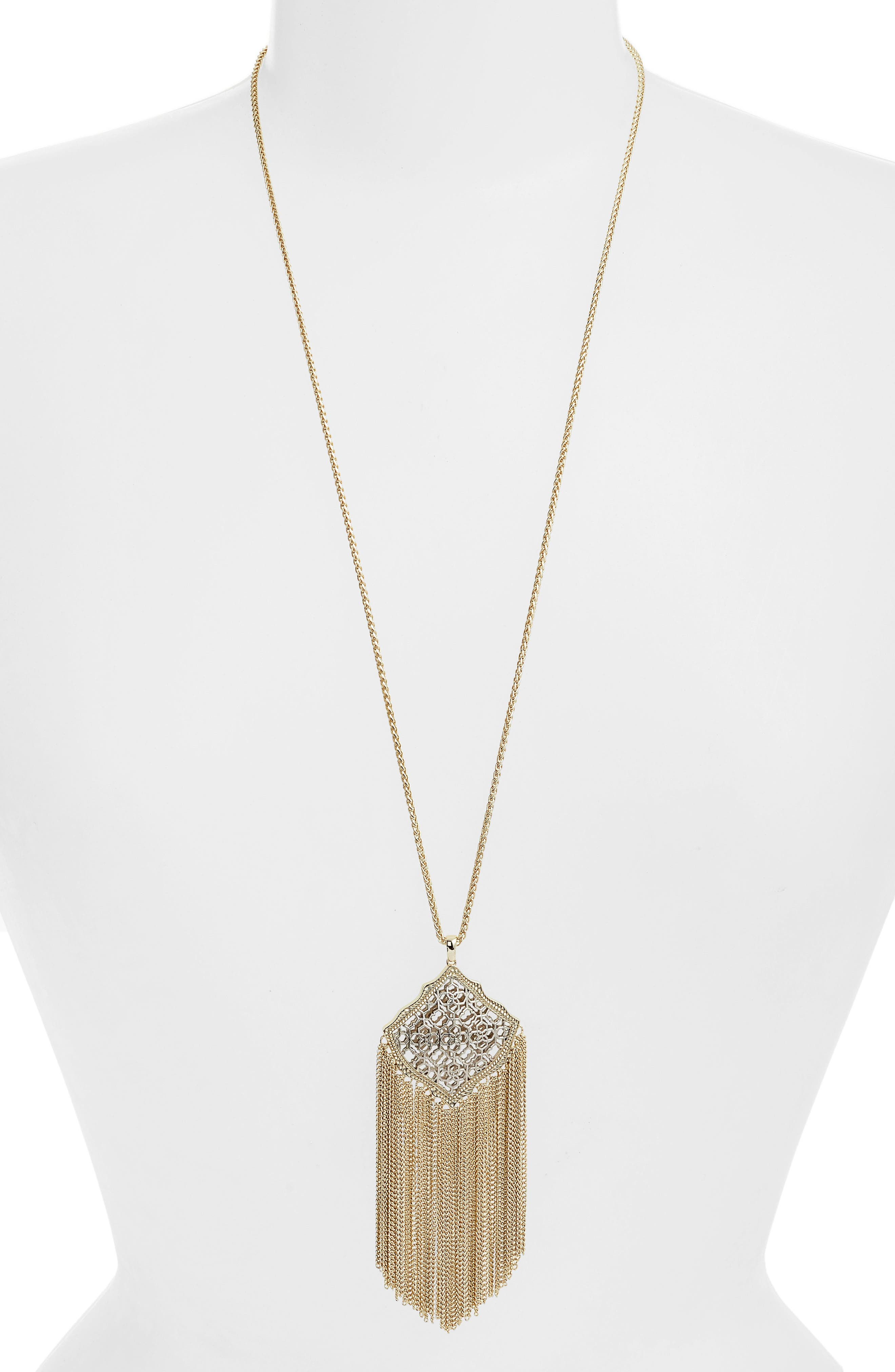Kingston Adjustable Pendant Necklace,                             Main thumbnail 1, color,                             SILVER FILIGREE/ GOLD