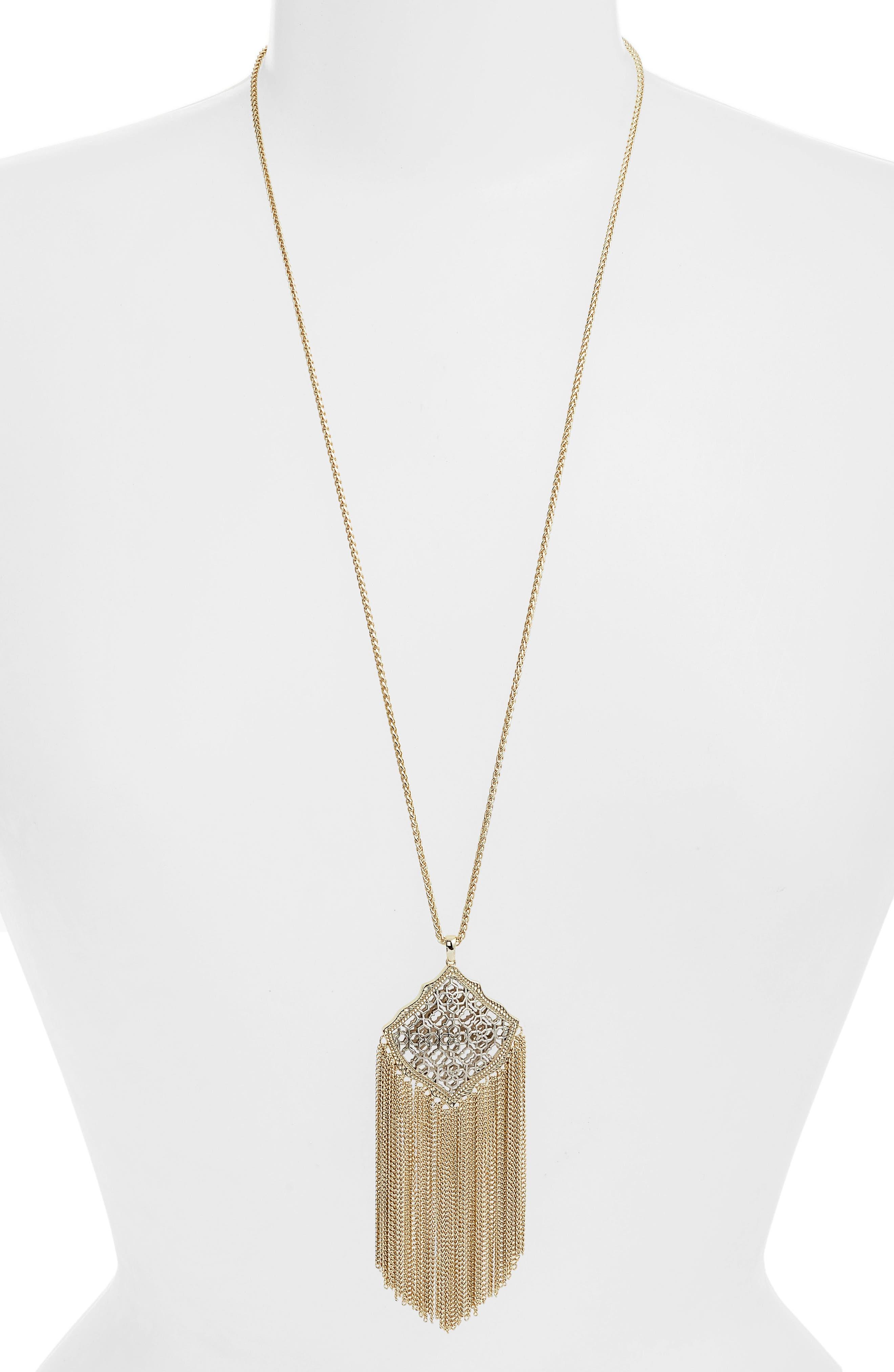 Kingston Adjustable Pendant Necklace, Main, color, SILVER FILIGREE/ GOLD