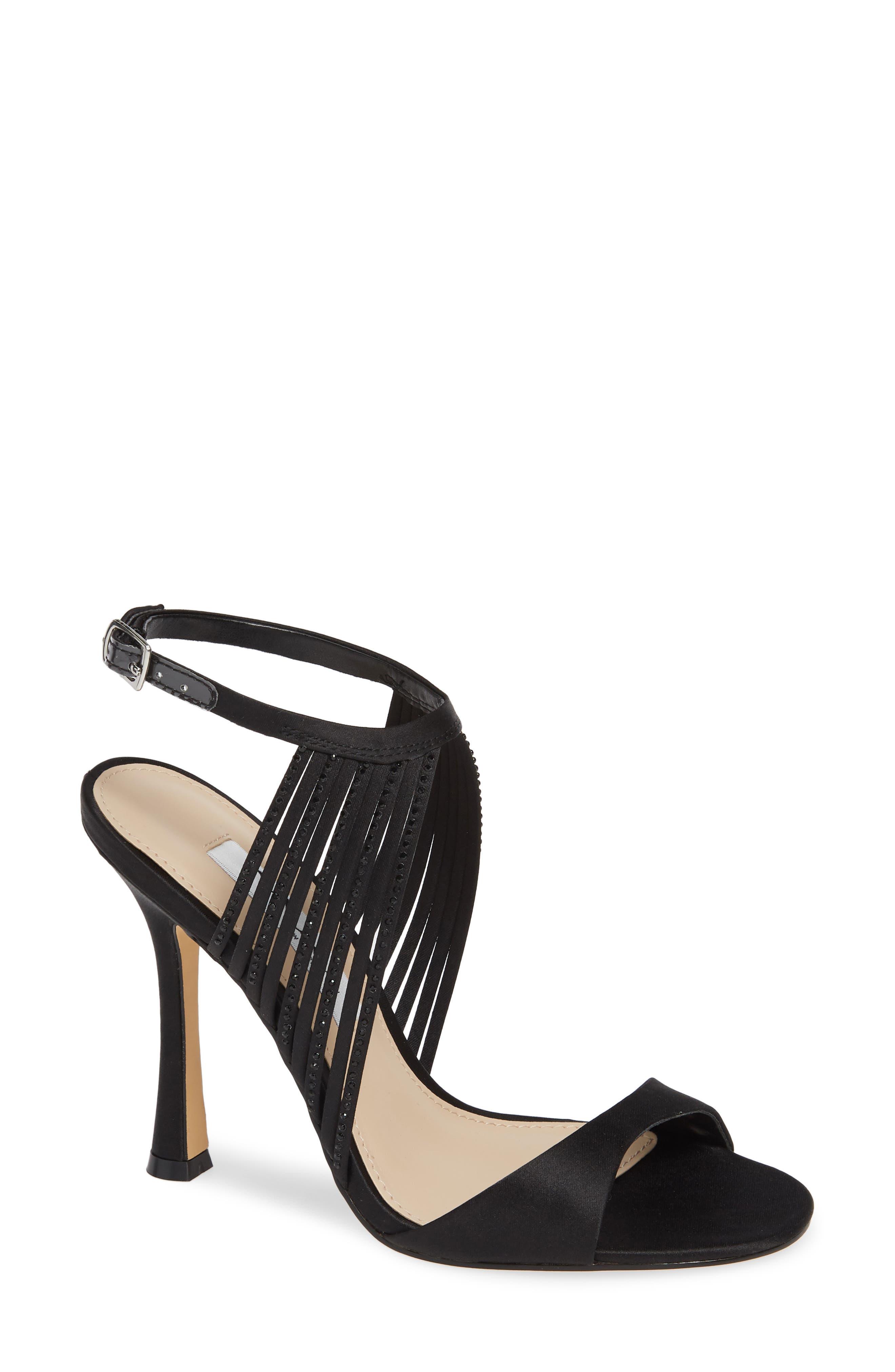 Damaris Crystal Embellished Sandal,                             Main thumbnail 1, color,                             BLACK SATIN