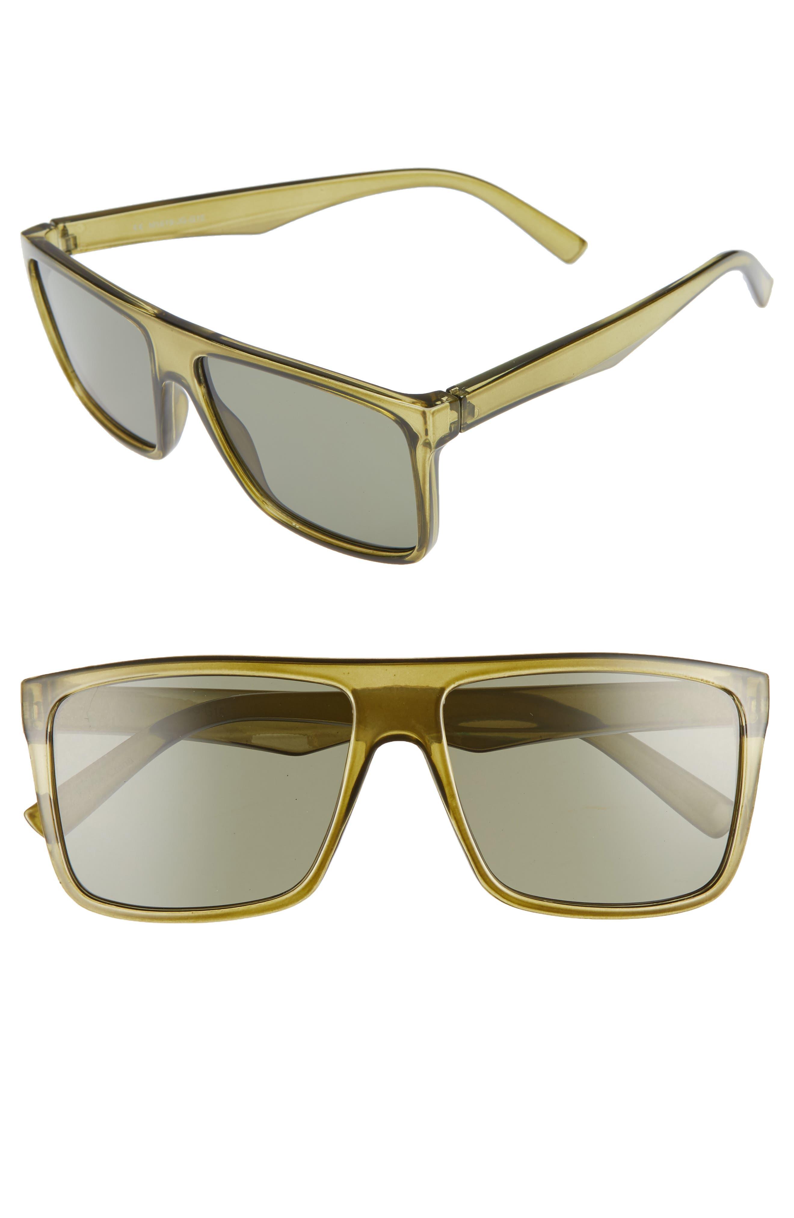 56mm Small Translucent Shield Sunglasses,                         Main,                         color, GREEN/ BLACK