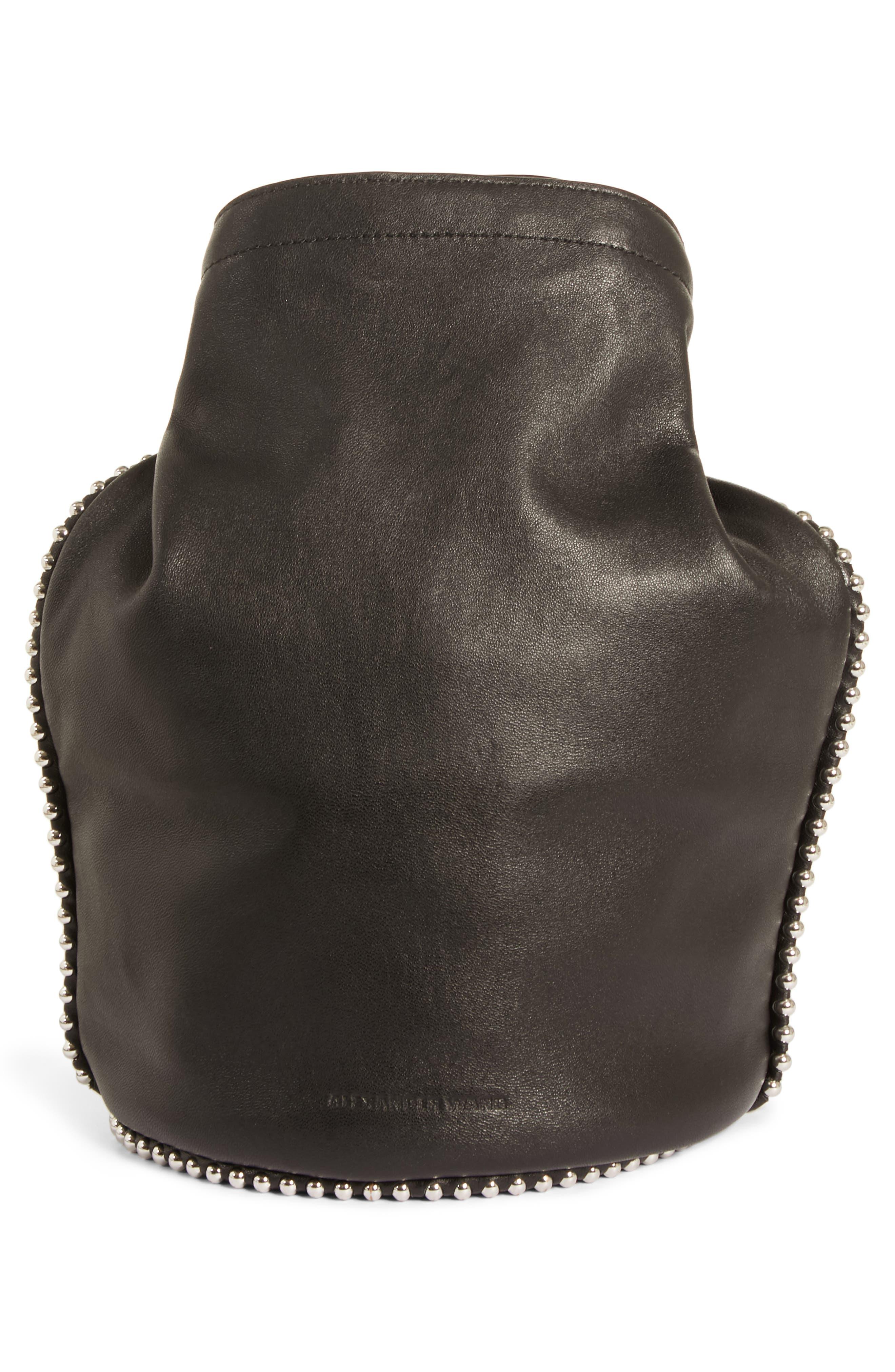 Attica Dry Sack Leather Bucket Bag,                             Alternate thumbnail 4, color,                             BLACK
