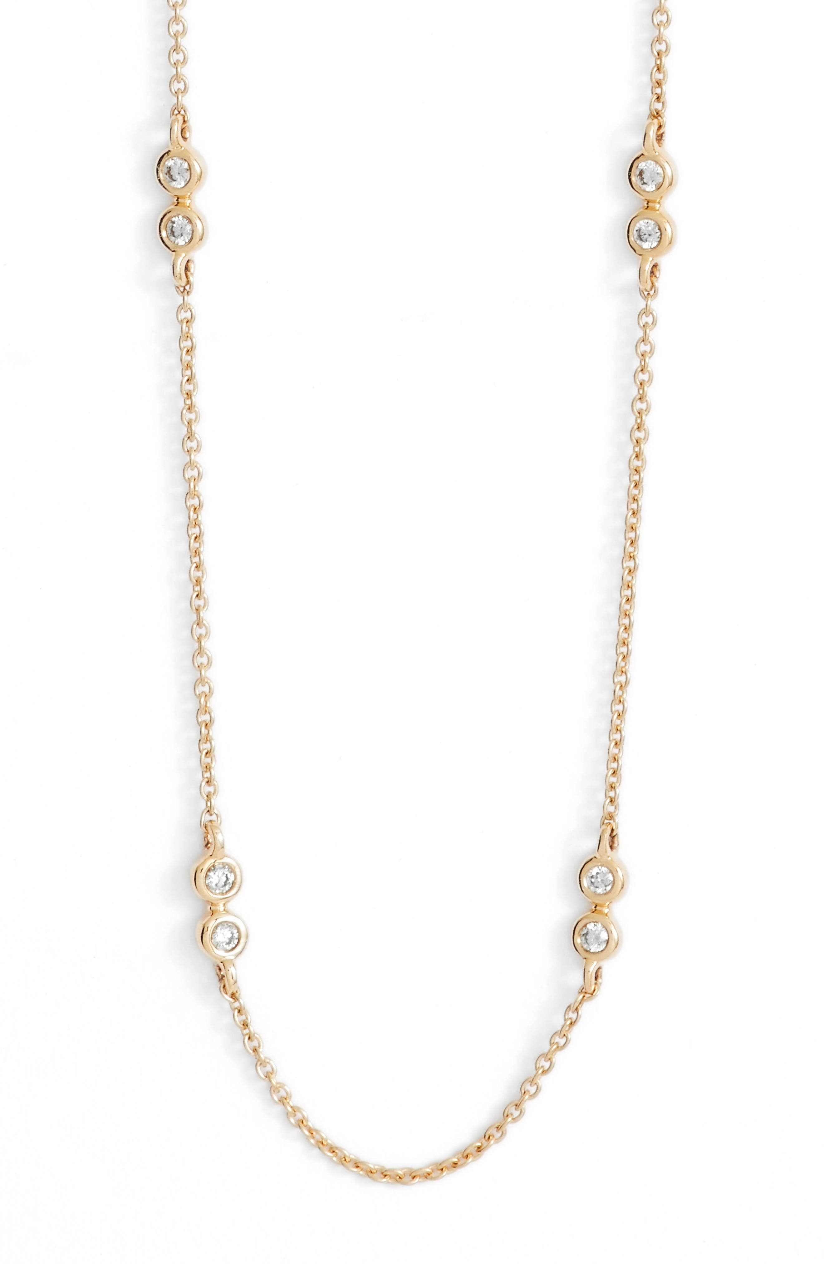 Lulu Jack Diamond Station Necklace,                             Main thumbnail 1, color,                             YELLOW GOLD