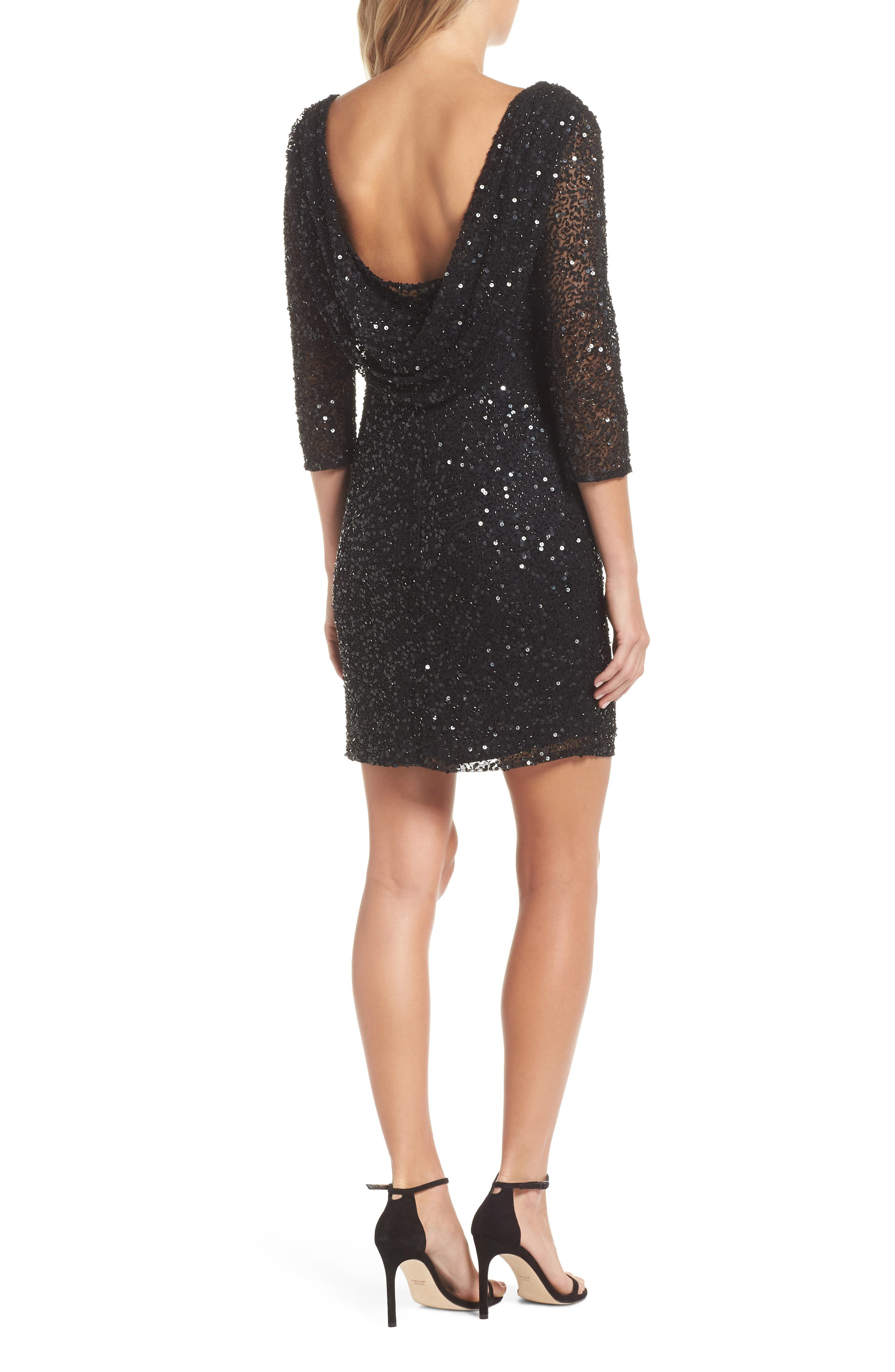 Embellished Cocktail Dress,                             Alternate thumbnail 2, color,                             BLACK