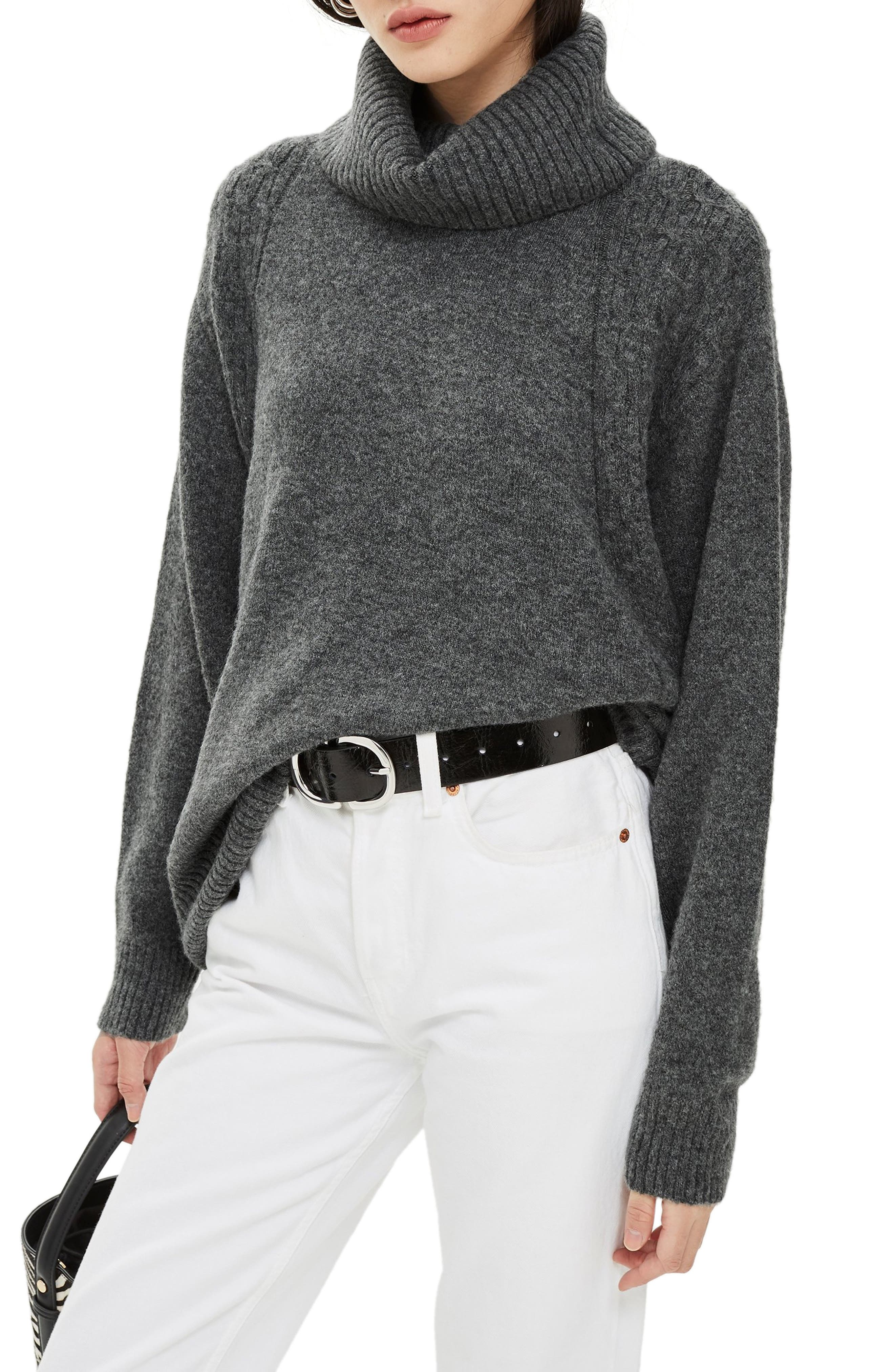 TOPSHOP,                             Turtleneck Sweater,                             Main thumbnail 1, color,                             CHARCOAL