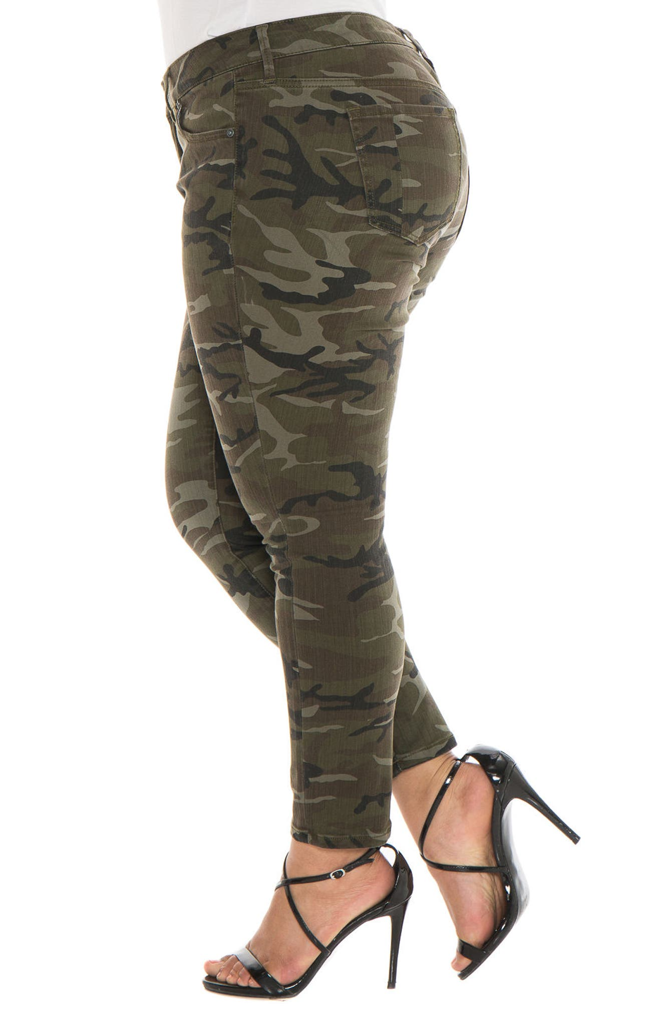 Camo Ankle Skinny Jeans,                             Alternate thumbnail 3, color,                             305