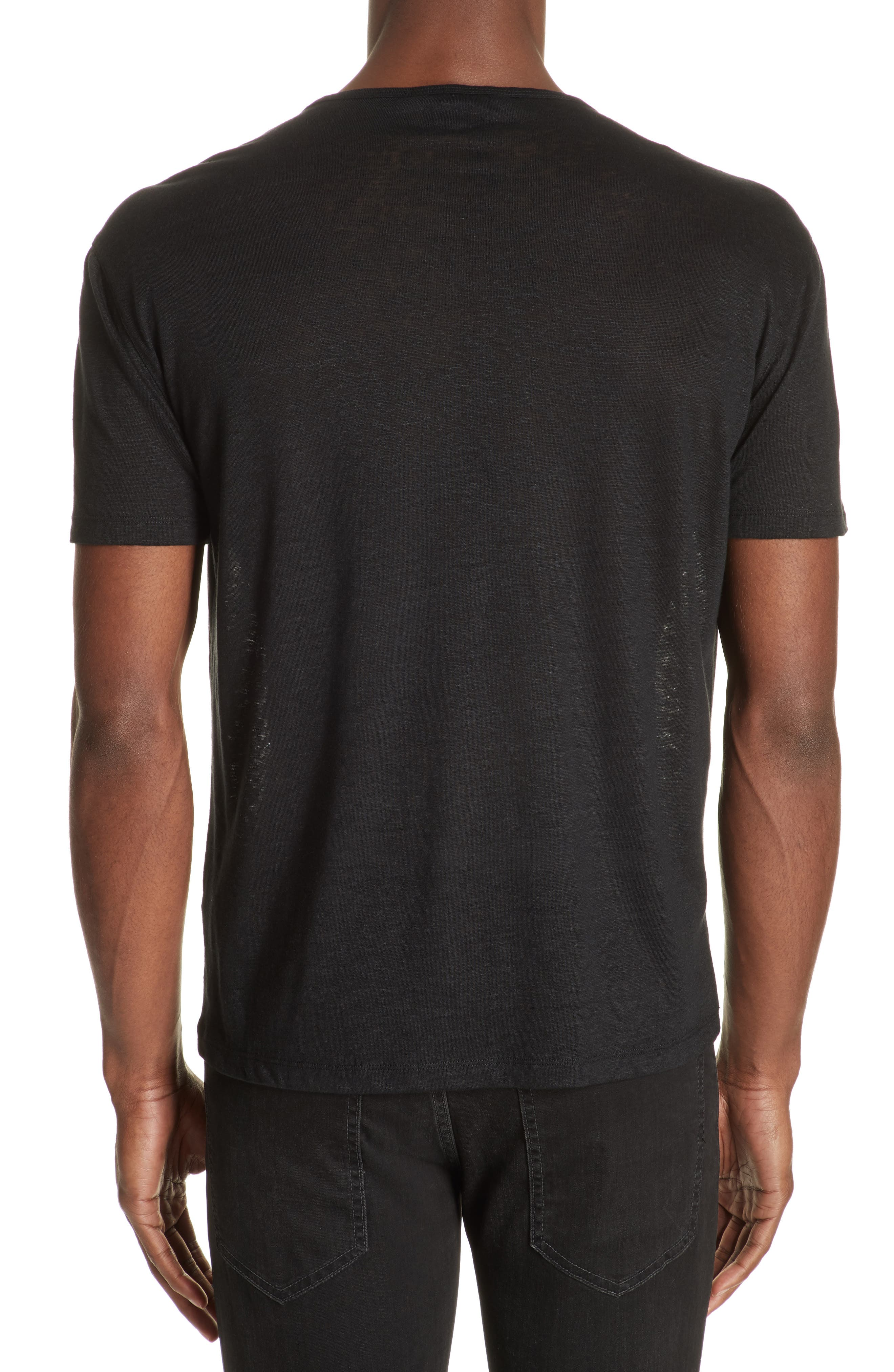 Linen Crewneck T-Shirt,                             Alternate thumbnail 2, color,                             BLACK