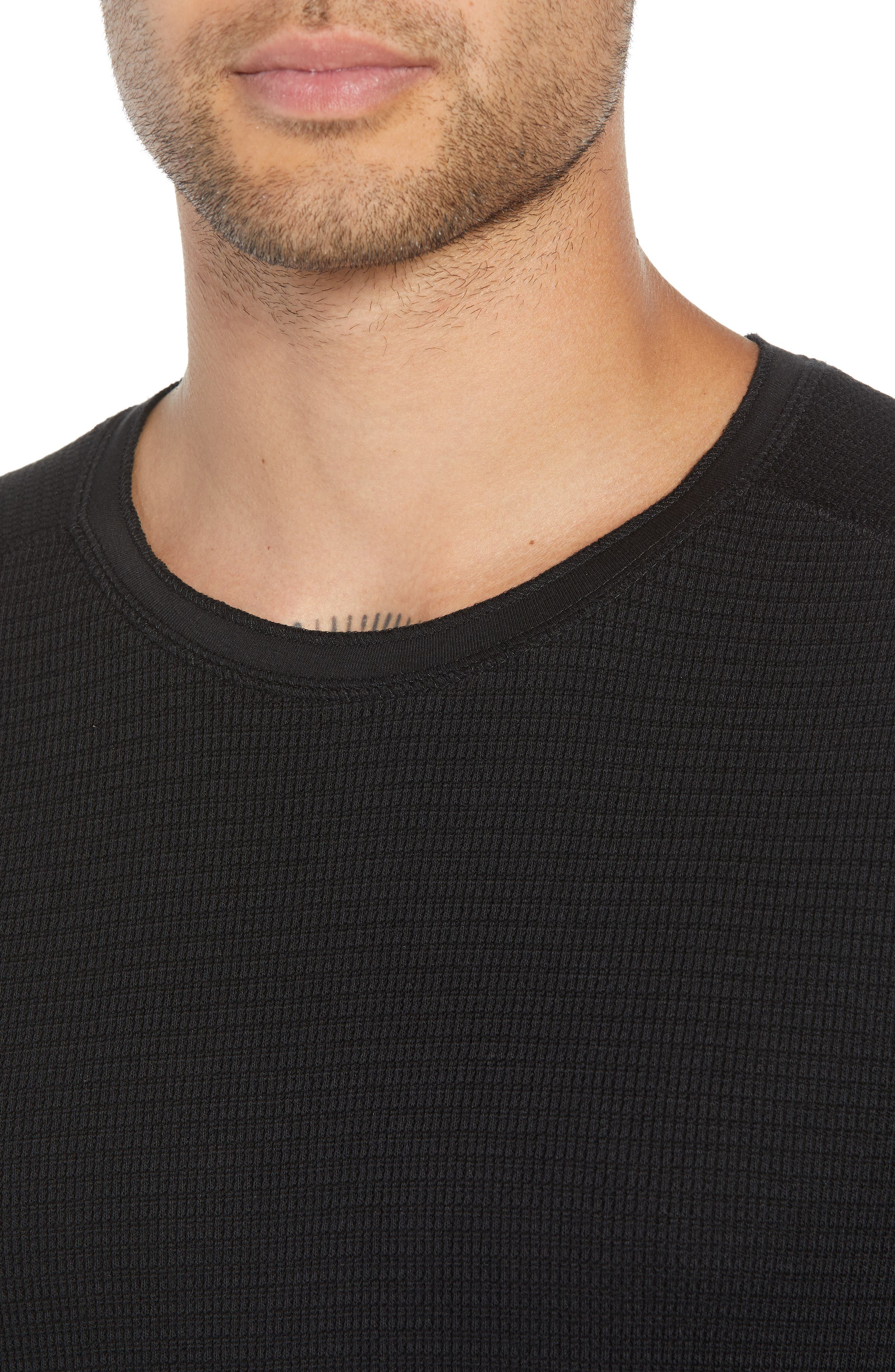 Regular Fit Waffle Knit T-Shirt,                             Alternate thumbnail 4, color,                             BLACK