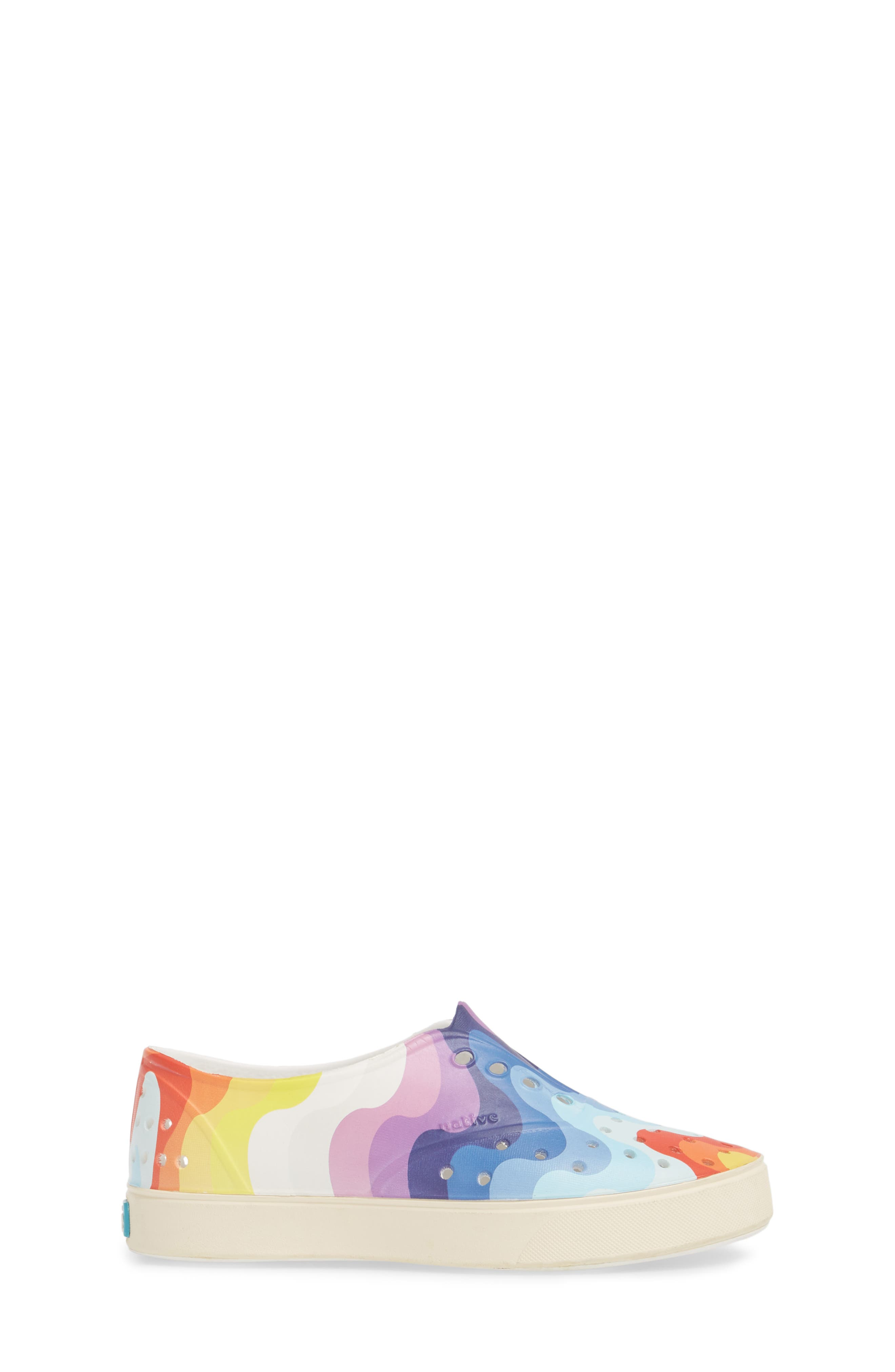 'Miller' Water Friendly Perforated Sneaker,                             Alternate thumbnail 3, color,                             SHELL WHITE/ RAINBOW WAVE