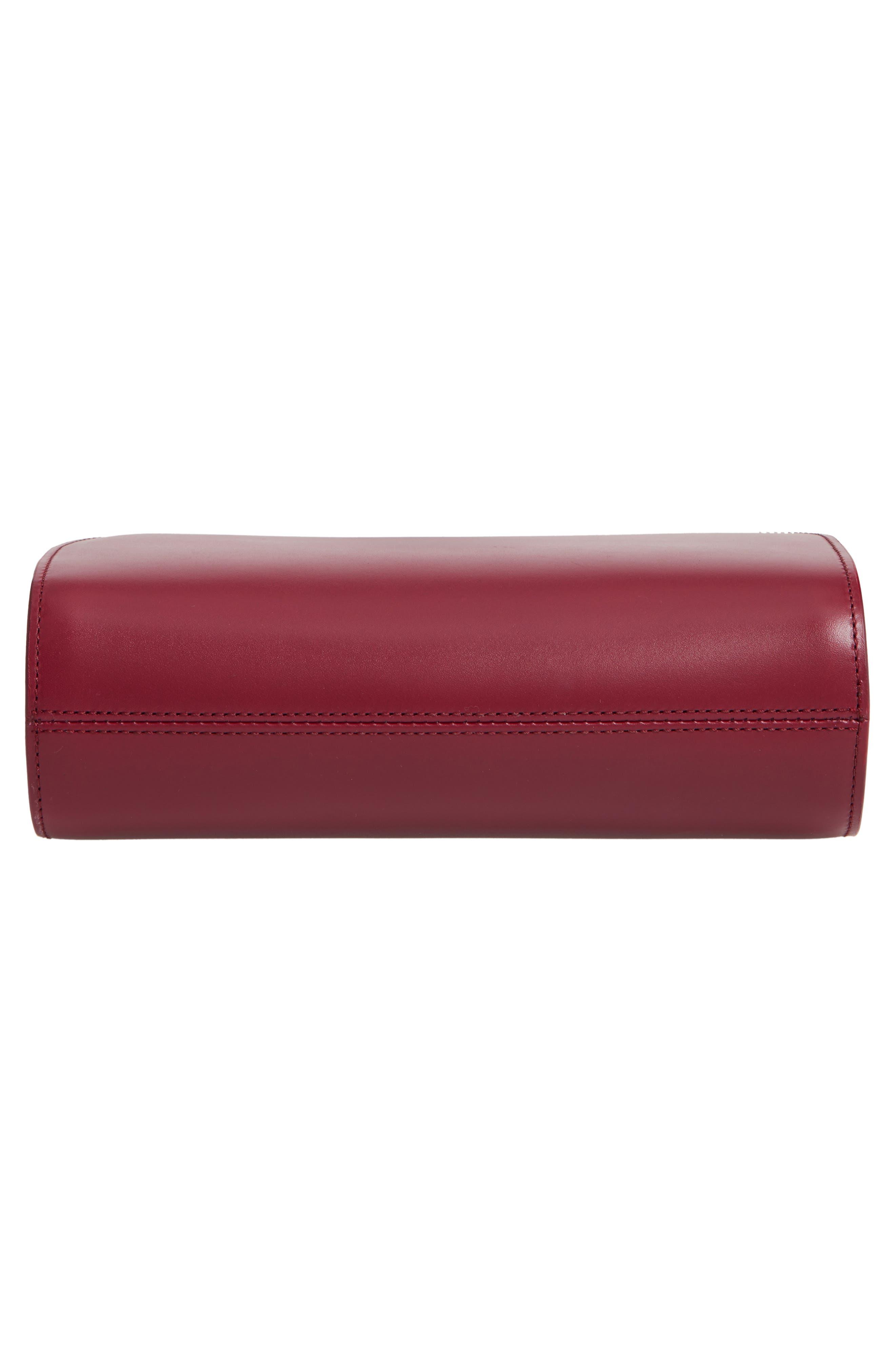Sac Demi Lune Leather Crossbody Bag,                             Alternate thumbnail 6, color,                             FRAMBOISE