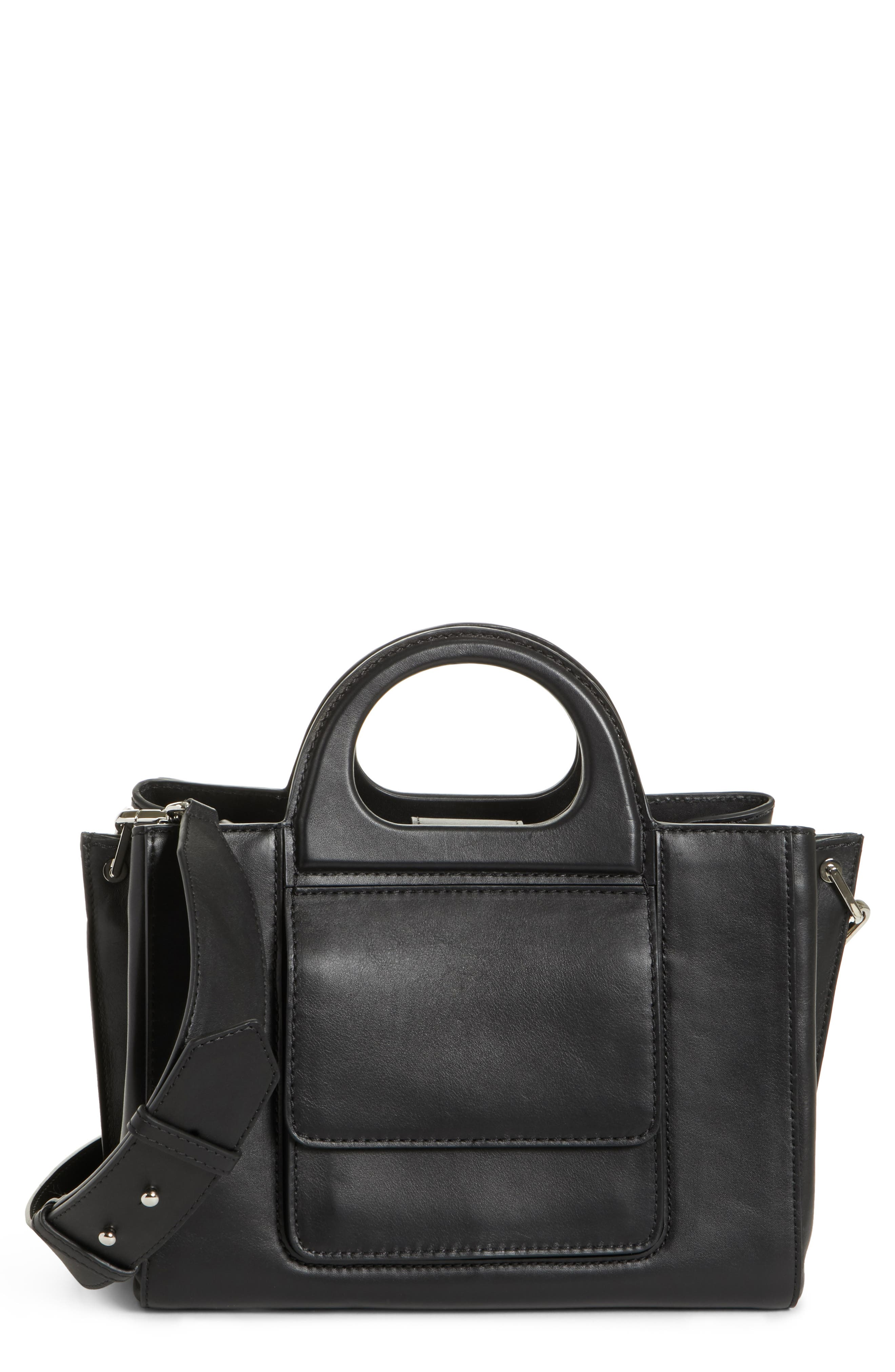 Small Grace Leather Tote,                         Main,                         color, BLACK