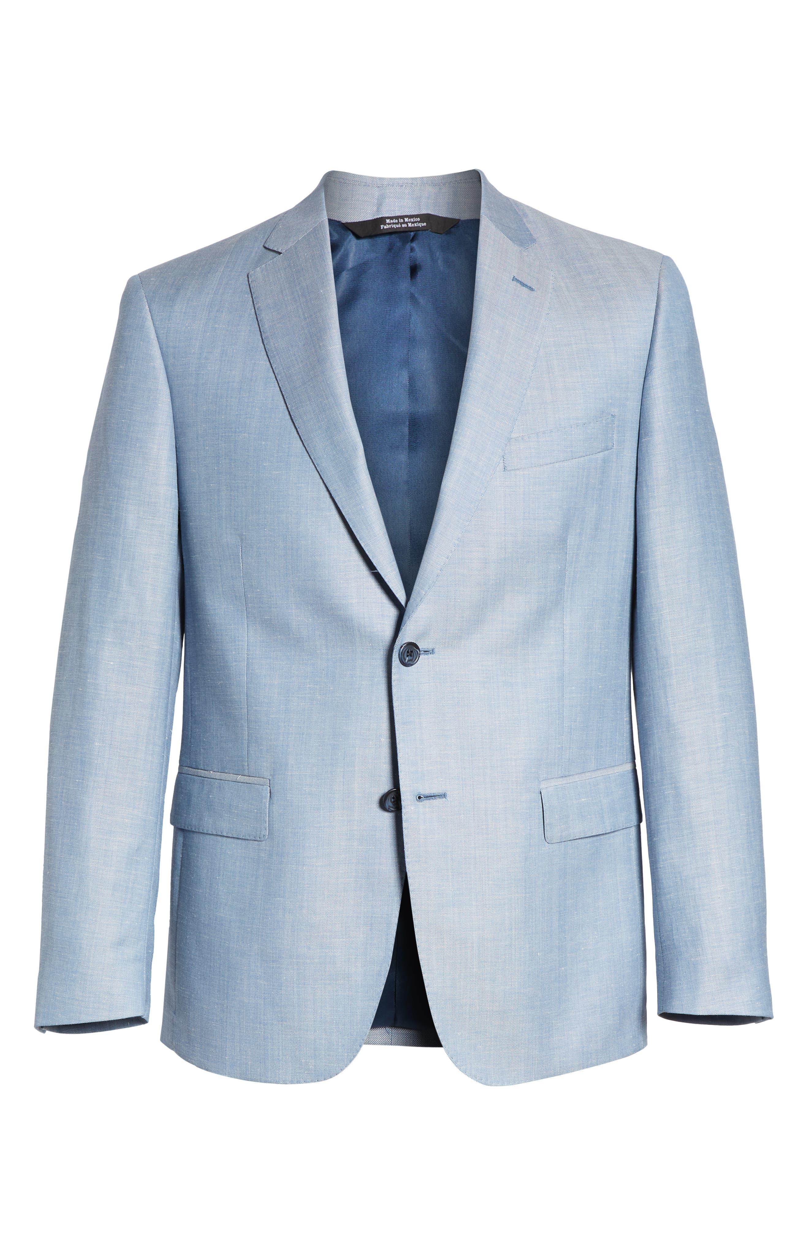 Traditional Fit Herringbone Wool & Linen Sport Coat,                             Alternate thumbnail 5, color,