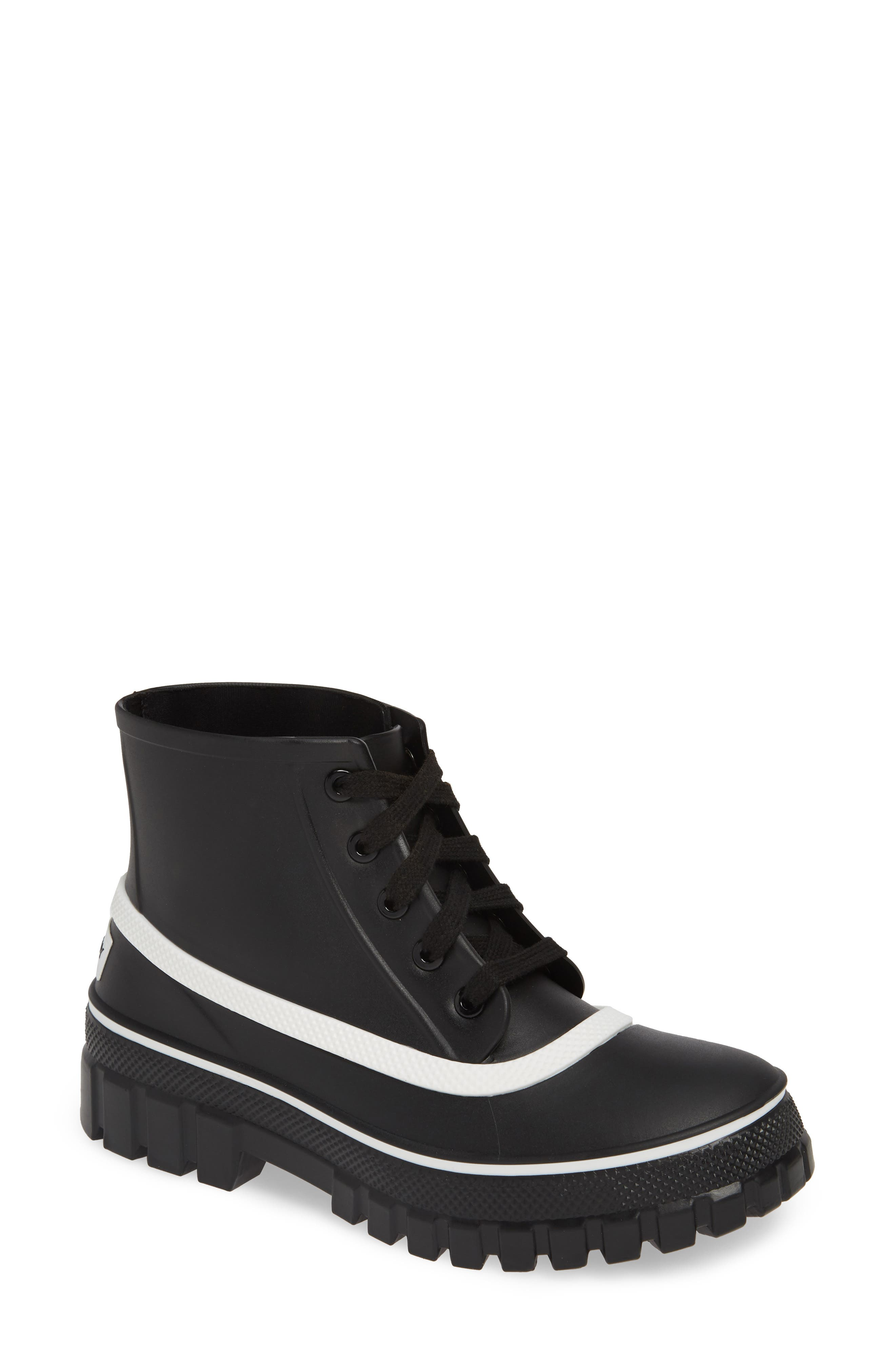 GIVENCHY,                             Glaston Waterproof Ankle Rain Boot,                             Main thumbnail 1, color,                             BLACK