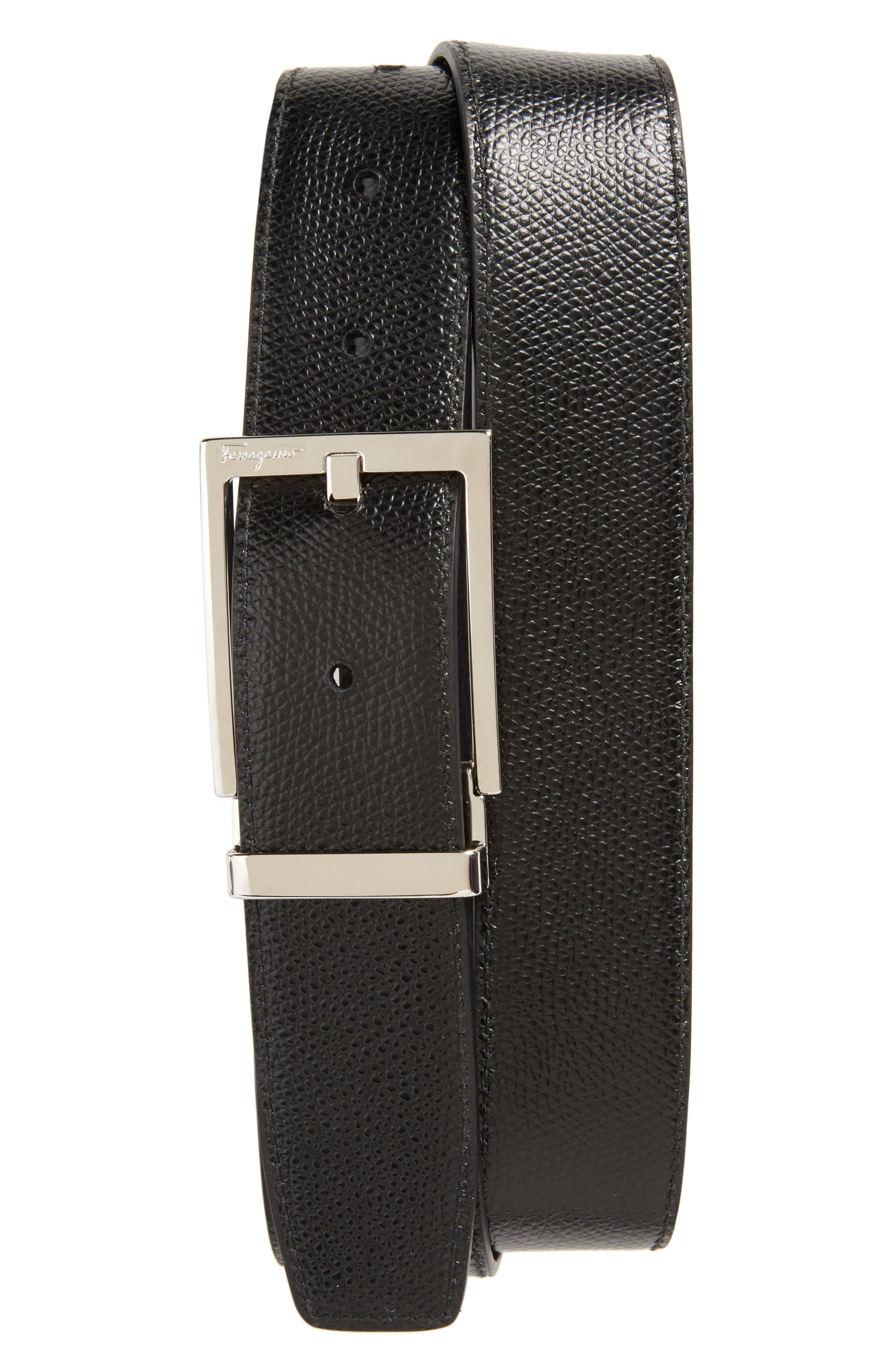 Reversible Leather Belt,                             Alternate thumbnail 2, color,                             NAVY/ BLACK