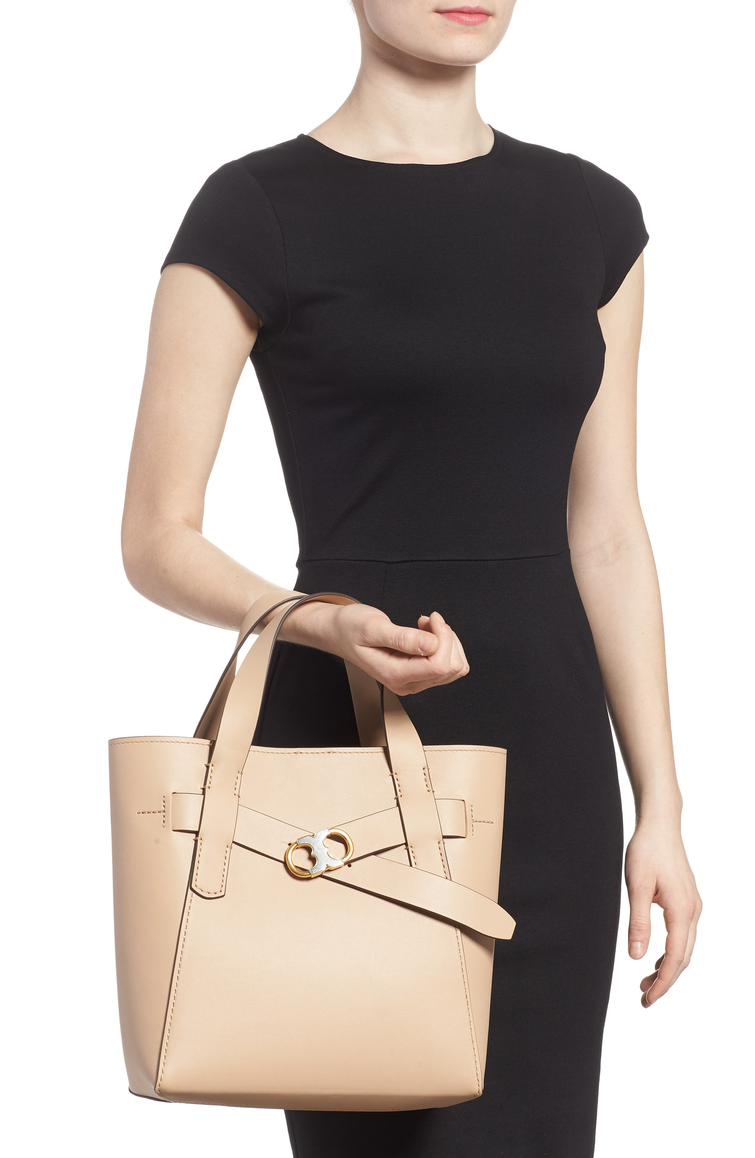 Small Gemini Link Leather Tote,                             Alternate thumbnail 3, color,