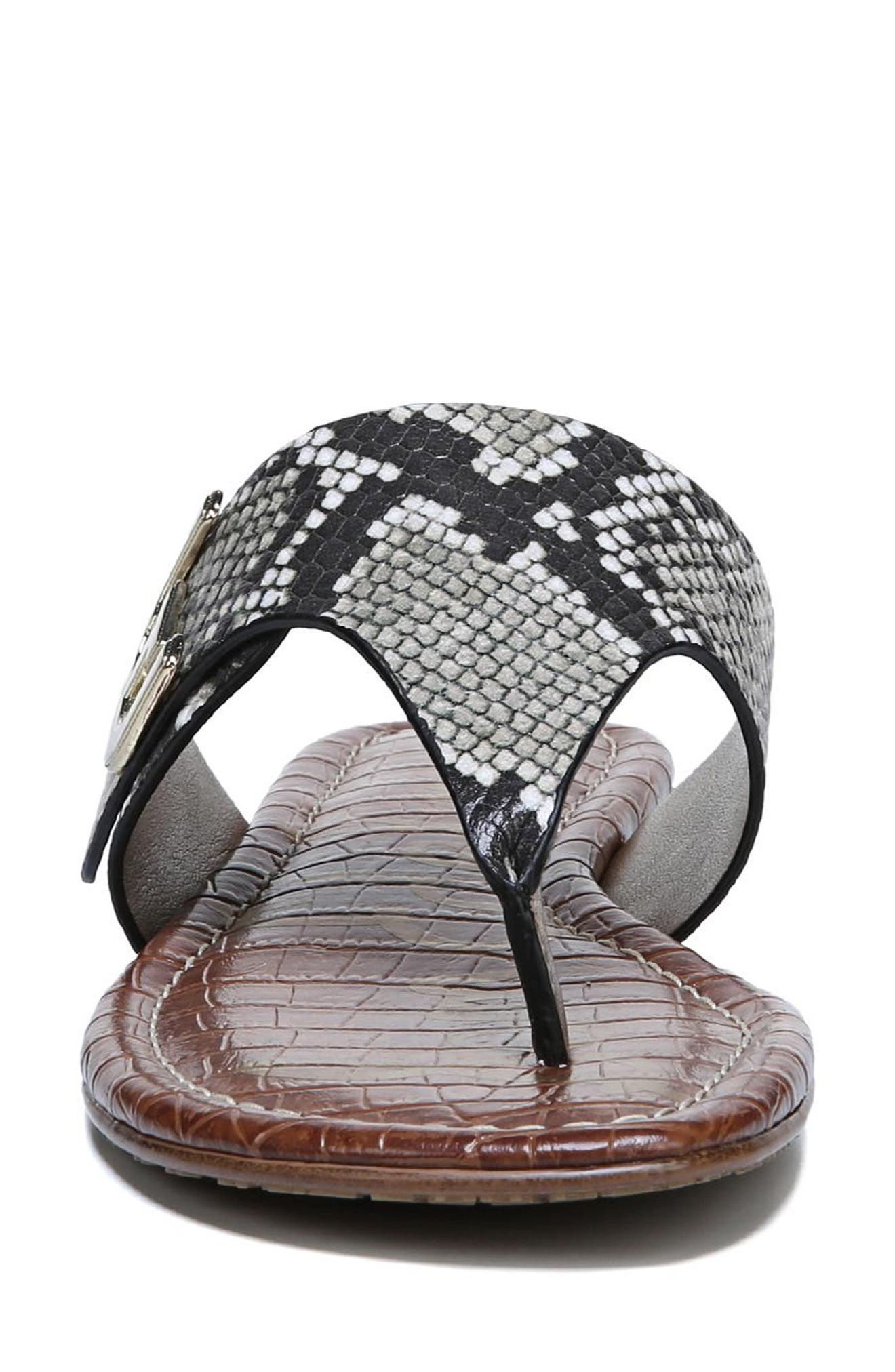 Barry V-Strap Thong Sandal,                             Alternate thumbnail 4, color,                             NATURAL SNAKE PRINT LEATHER
